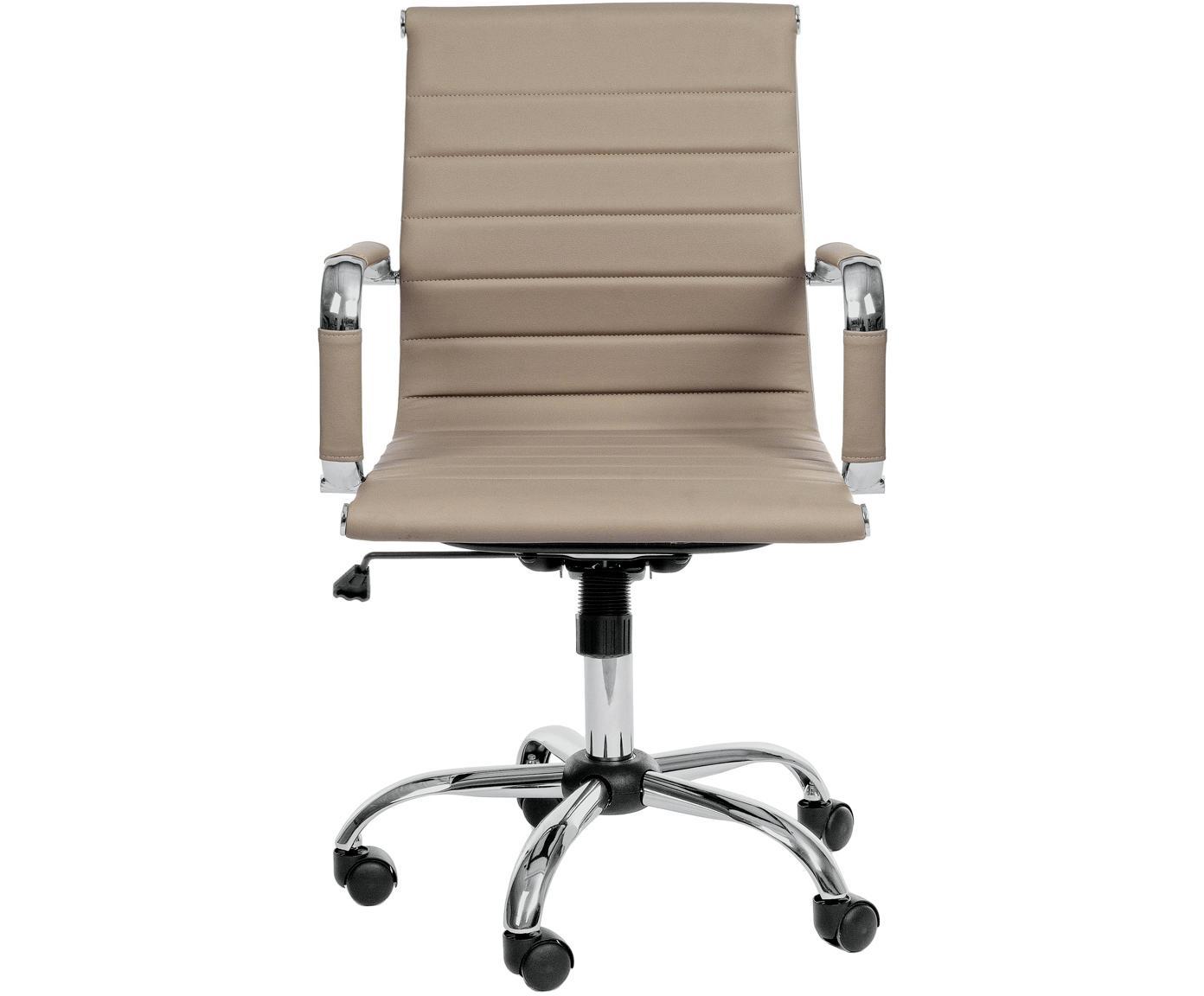 Biurowe krzesło obrotowe ze sztucznej skóry Praga, Stelaż: metal chromowany, Tapicerka: sztuczna skóra (poliureta, Taupe, S 59 x W 89 cm