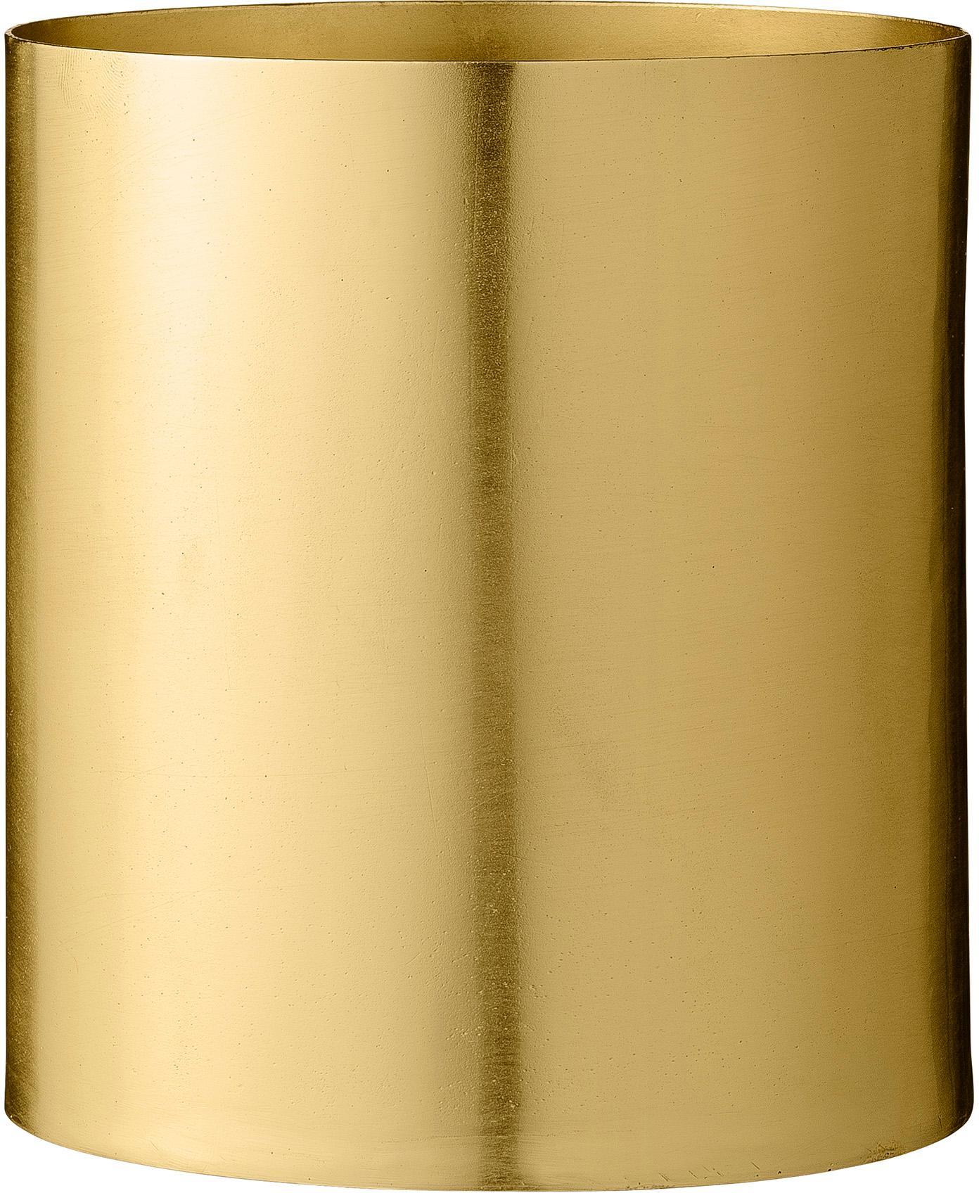 Kleiner Übertopf Sharin aus Metall, Metall, Messing, Ø 13 x H 14 cm