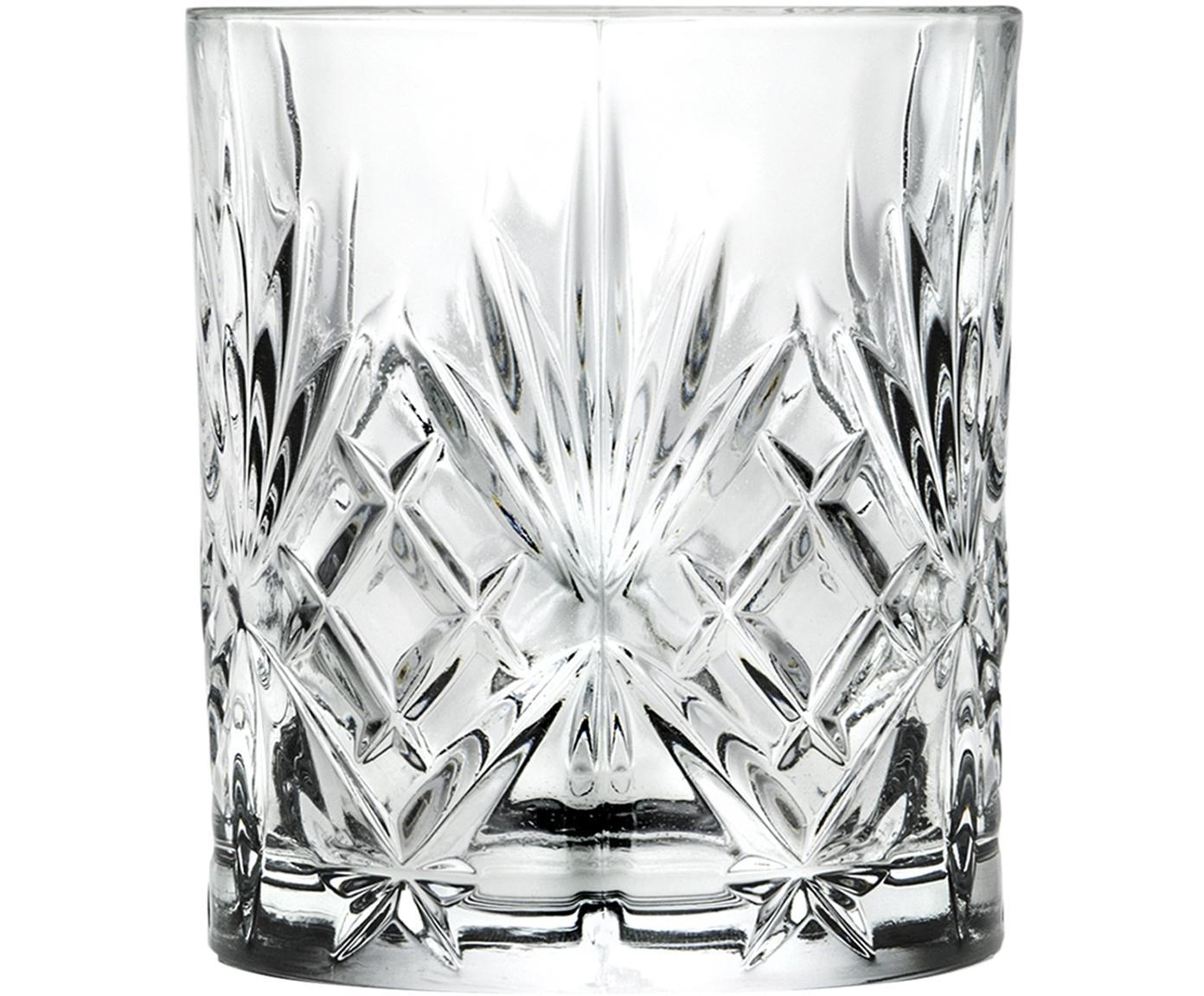 Bicchiere whiskey in cristallo Melodia 6 pz, Vetro di cristallo, Trasparente, Ø 8 x Alt. 9 cm