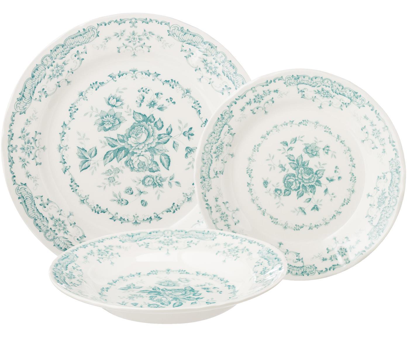 Serviesset Rose met bloemmotief in turquoise, 6 personen (18-delig), Keramiek, Wit, turquoise, Set met verschillende formaten