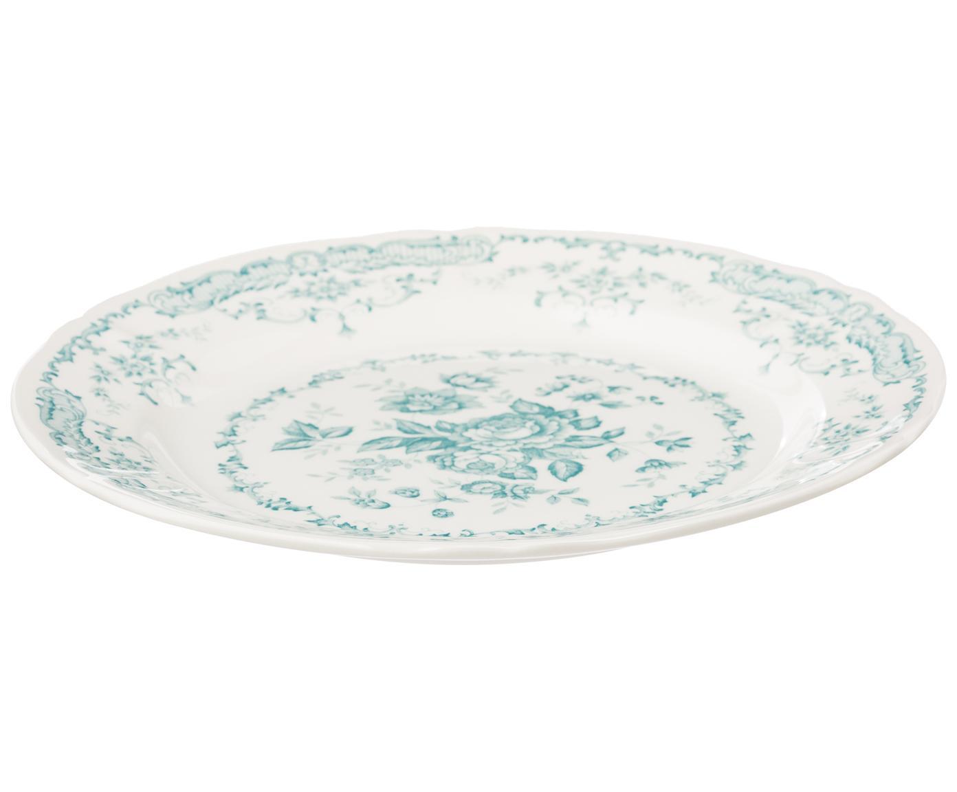 Komplet naczyń Rose, 18 elem., Ceramika, Biały, turkusowy, Różne rozmiary