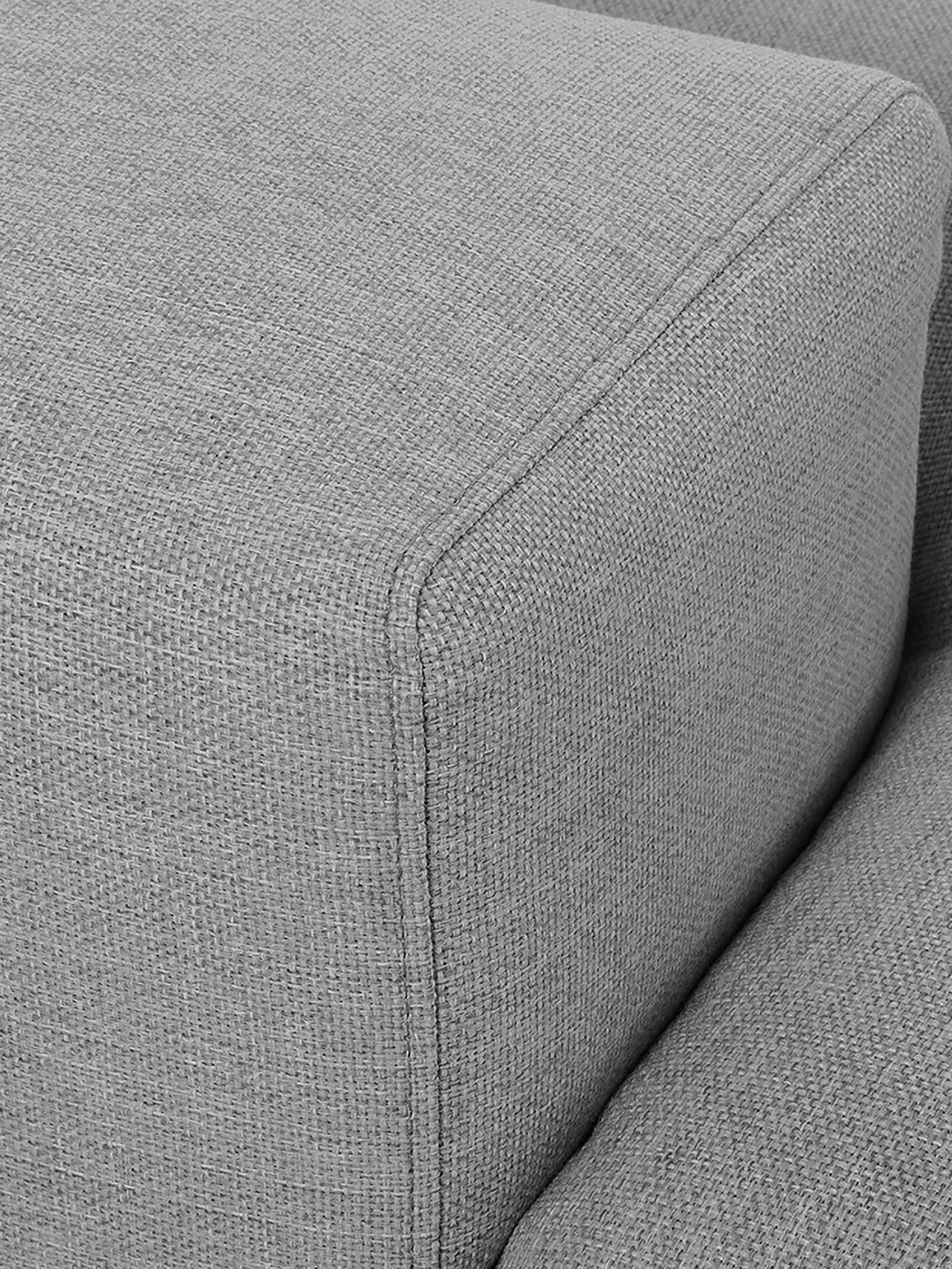 Ecksofa Brooks, Bezug: Polyester 35.000 Scheuert, Gestell: Kiefernholz, massiv, Rahmen: Kiefernholz, lackiert, Füße: Metall, pulverbeschichtet, Webstoff Grau, B 315 x T 148 cm