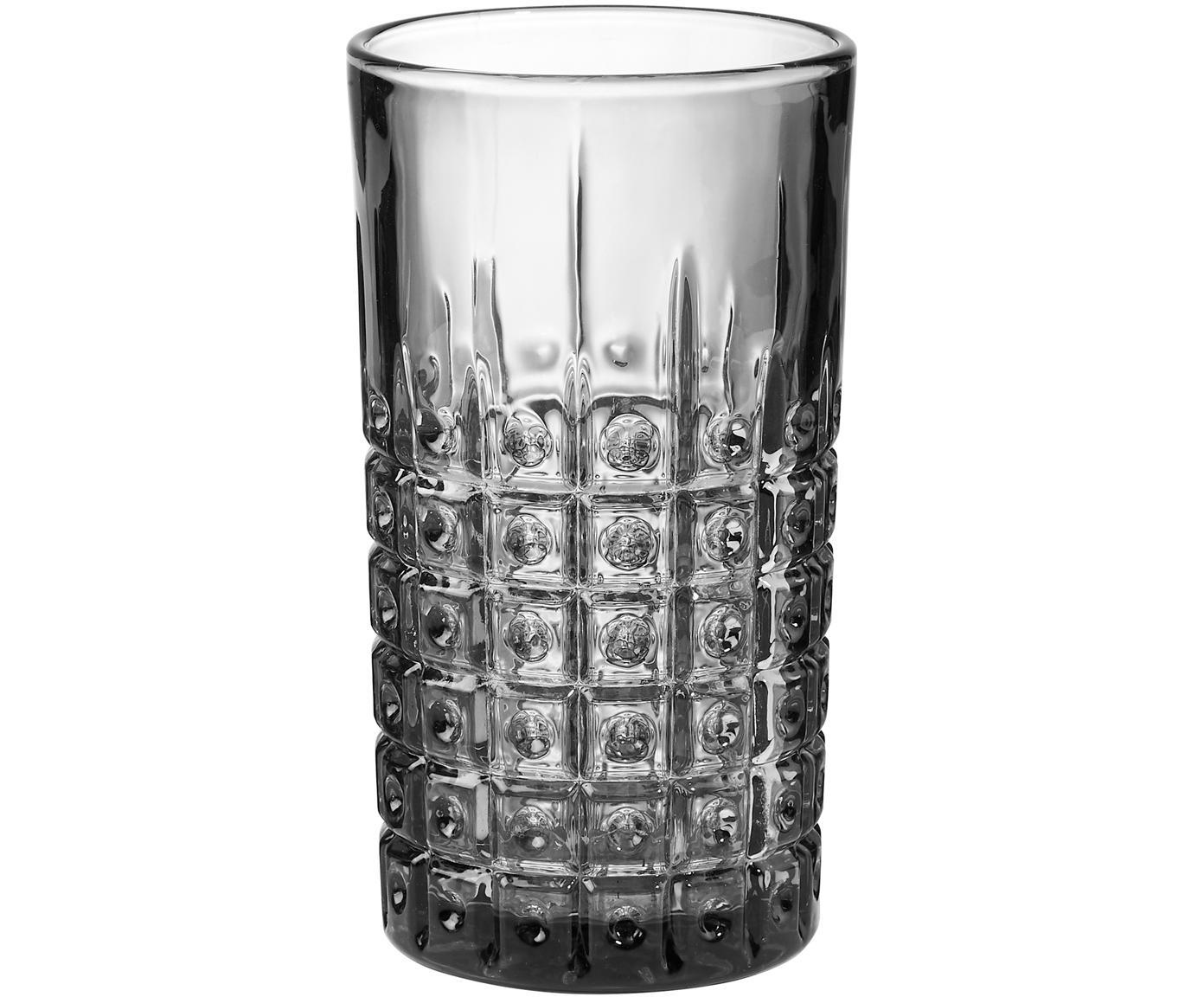 Vasos con relieve Mont Fleuri, 4uds., Vidrio, Negro, Ø 8 x Al 13 cm