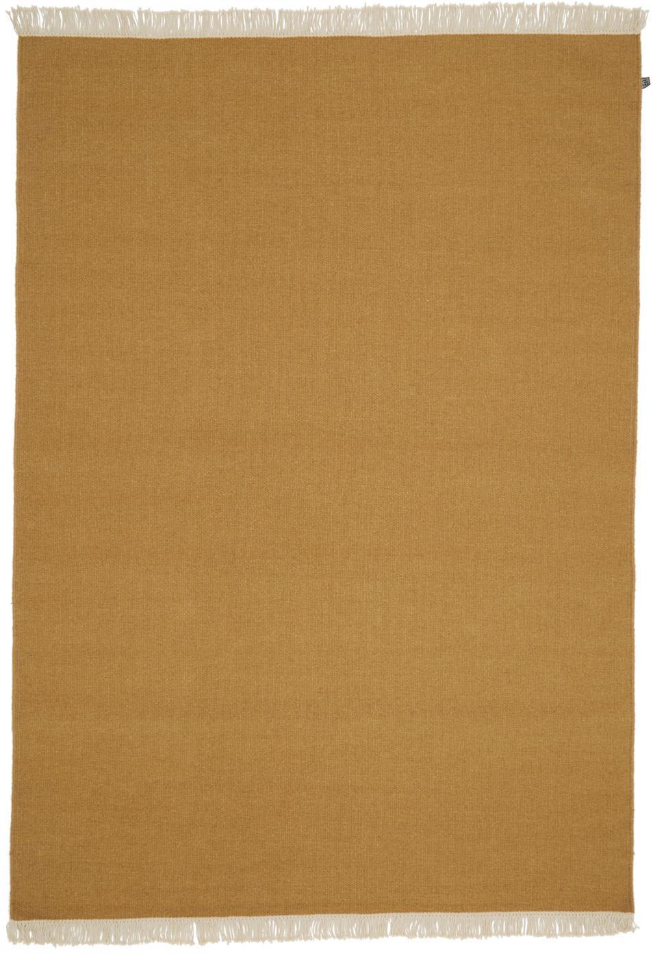 Tappeto in lana tessuto a mano con frange Rainbo, Giallo ocra, Larg. 140 x Lung. 200 cm (taglia S)