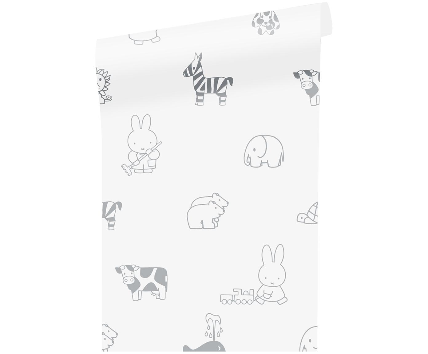 Behang Nijntje, Papier, mat, 165 g/m², Wit, grijs, Ø 97 x H 280 cm