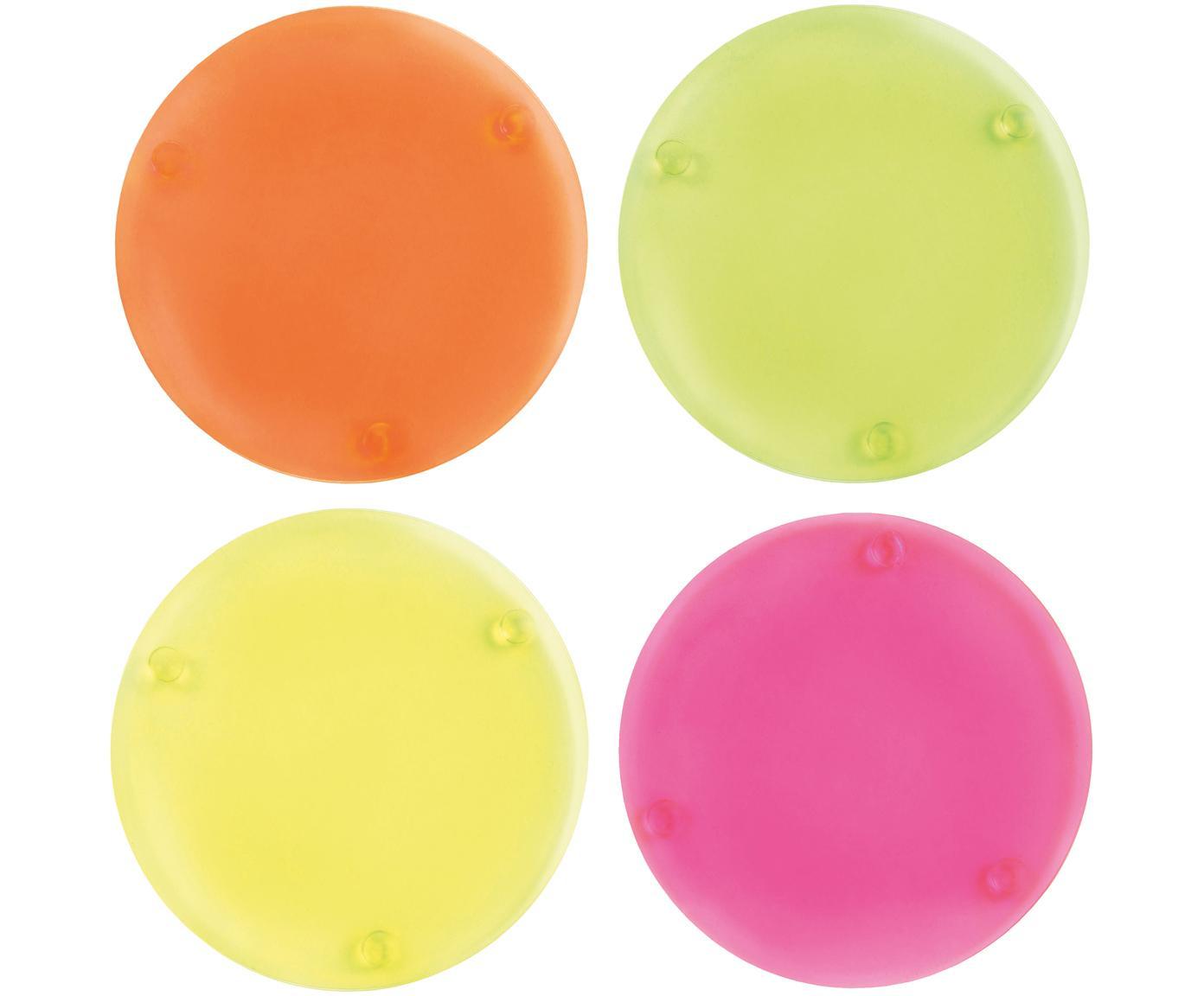 Set de posavasos en acrilico Neon, 4uds., Acrílico, Amarillo, verde, naranja, rosa, Ø 10 cm