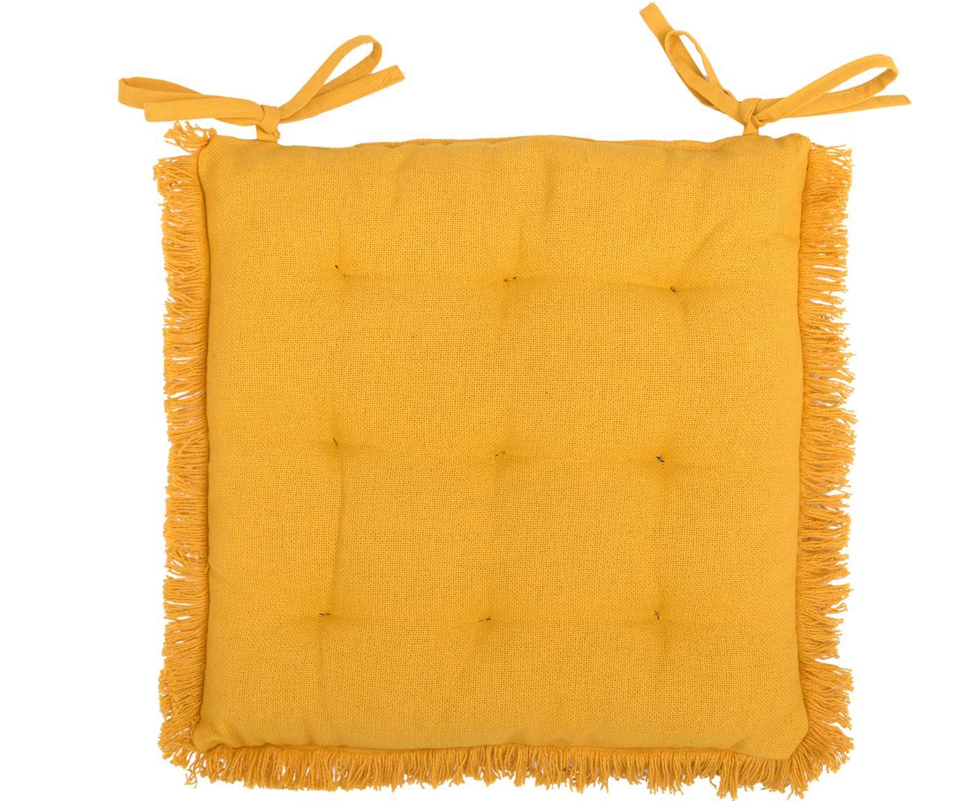 Cojín de asiento con flecos Prague, Amarillo, An 40 x L 40 cm