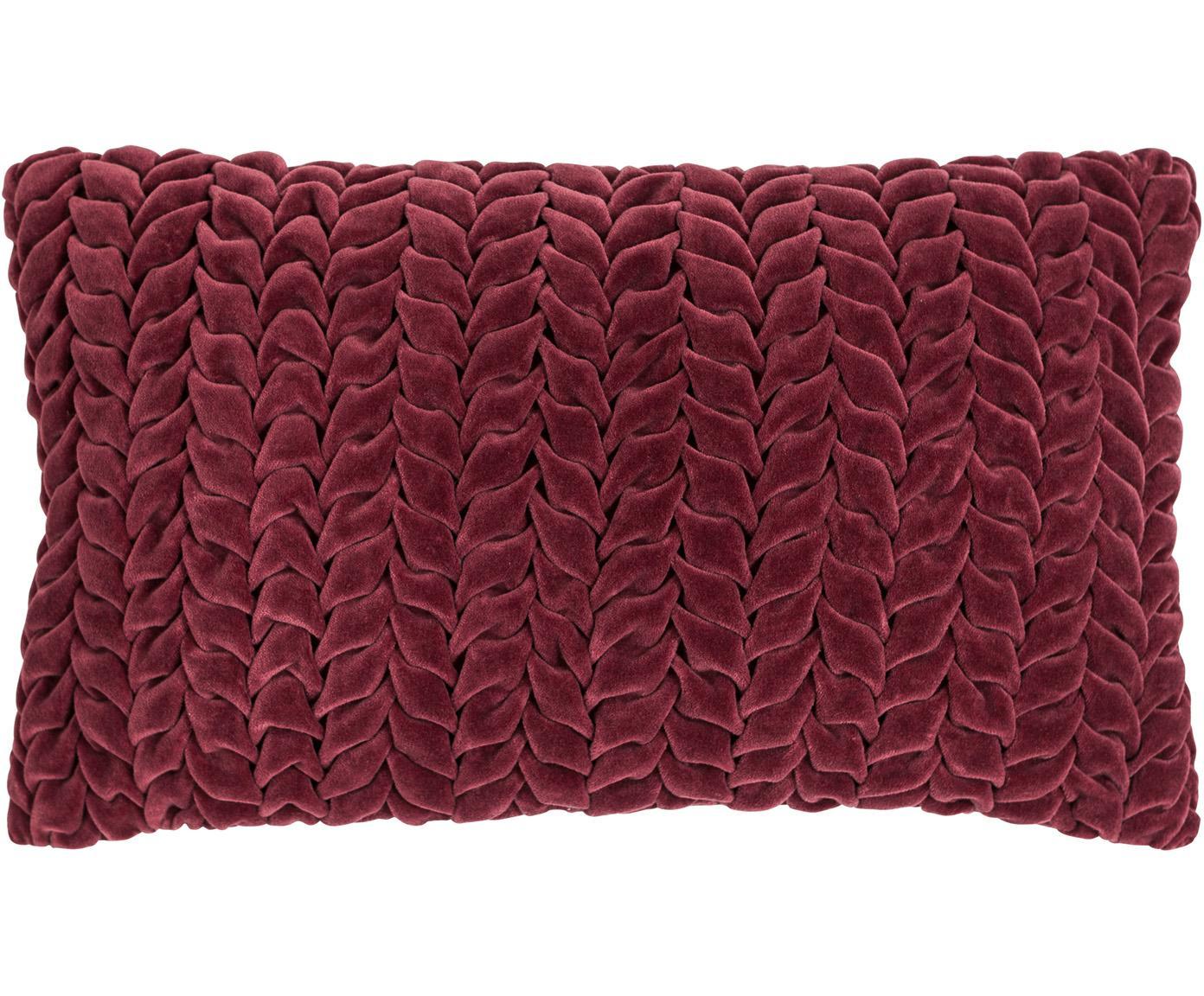 Fluwelen kussen Smock in wijnrood met geribbeld oppervlak, met vulling, Rood, 30 x 50 cm