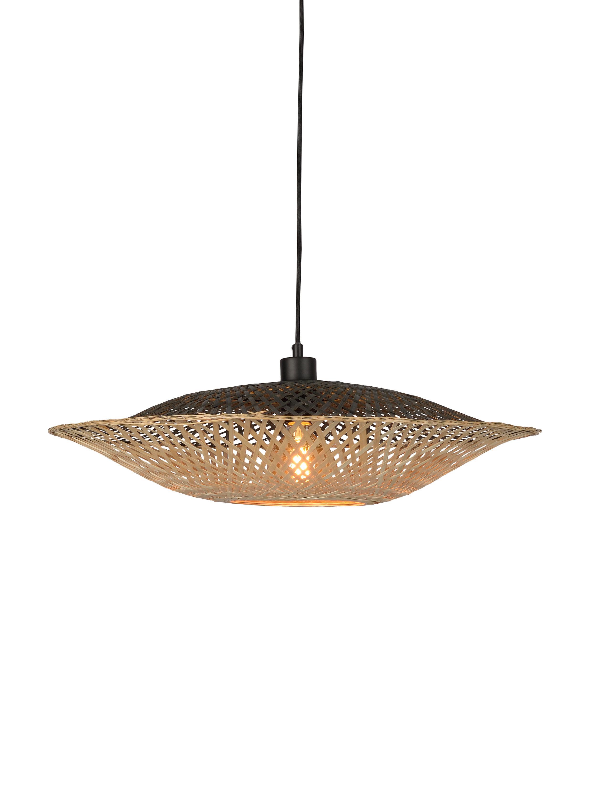 Lámpara de techo de bambú Kalimantan, Pantalla: bambú, Anclaje: plástico, Cable: cubierto en tela, Bambú, negro, Ø 60 x Al 15 cm