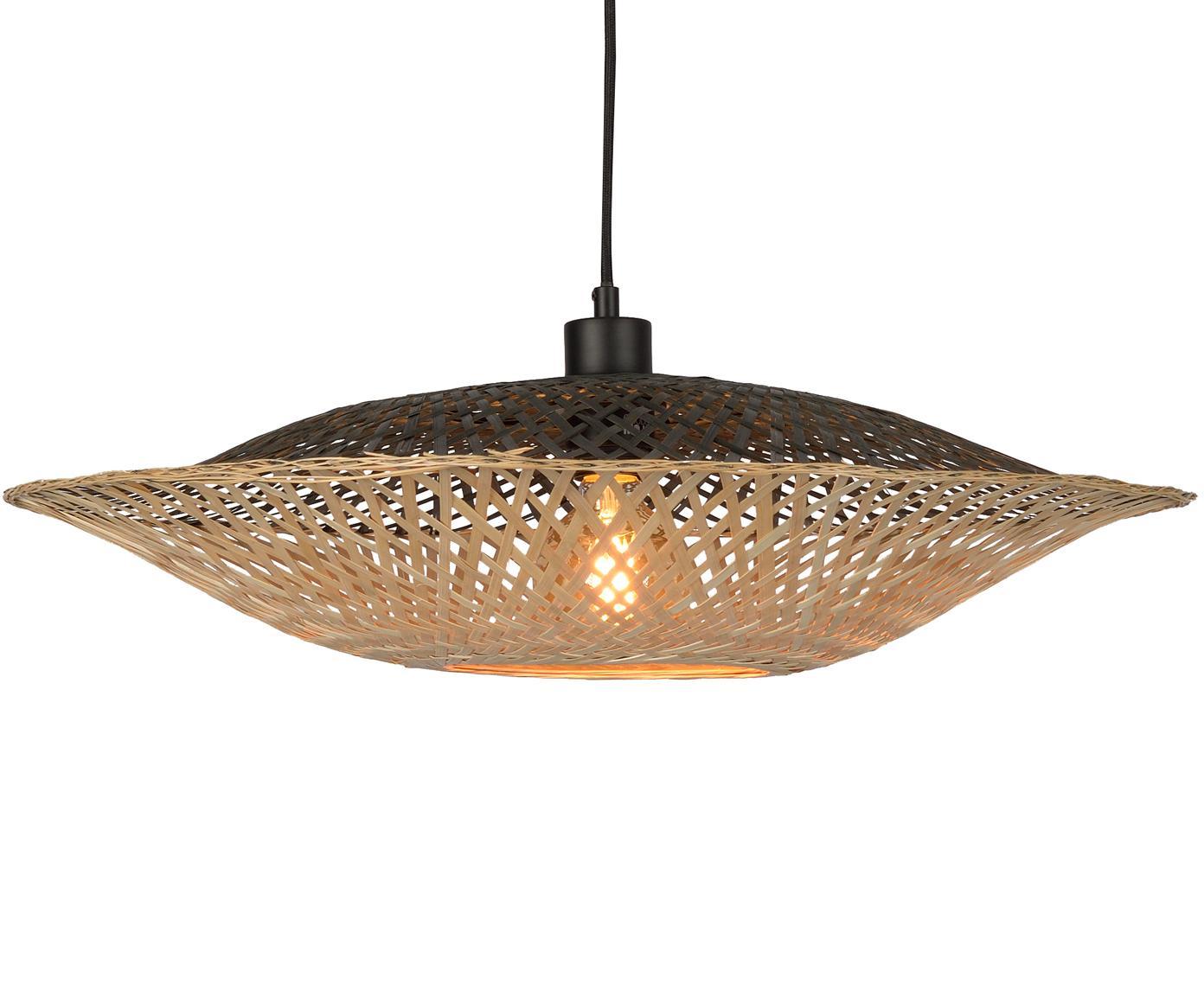 Hanglamp Kalimantan van bamboehout, Lampenkap: bamboehout, Baldakijn: kunststof, Bamboehoutkleurig, zwart, Ø 60 x H 15 cm