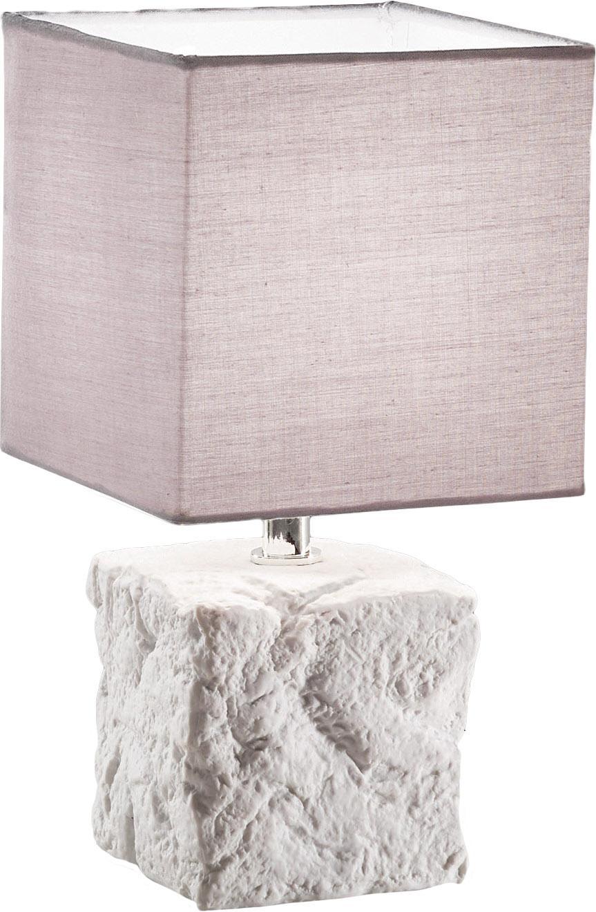 Keramik-Tischlampe Adda, Lampenschirm: Stoff, Weiss, Hellgrau, Ø 15 x H 29 cm