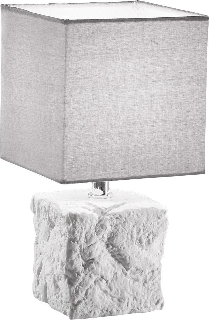 Keramik-Tischlampe Adda, Lampenschirm: Stoff, Lampenfuß: Keramik, Weiß, Hellgrau, Ø 15 x H 29 cm