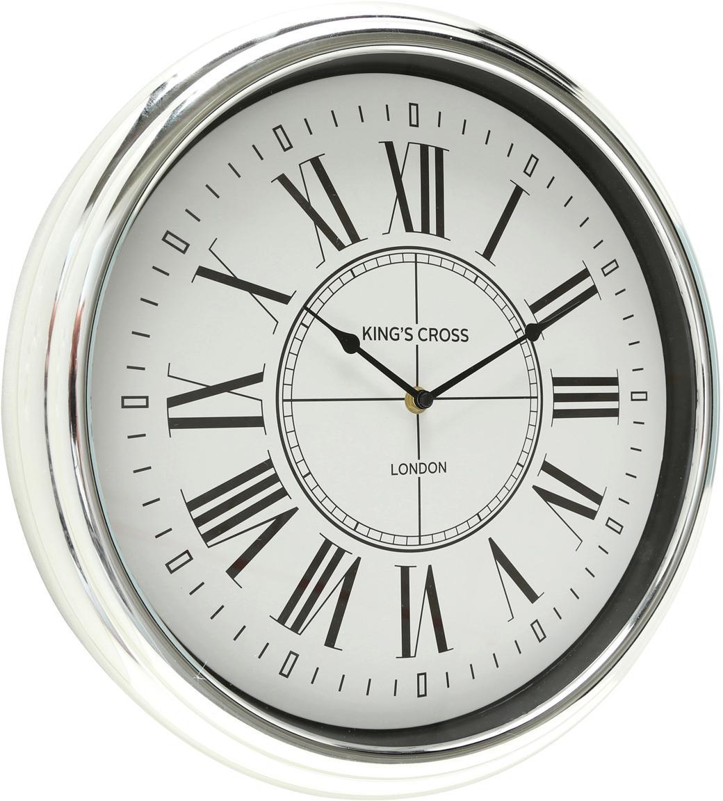 Reloj de pared Kendra, Plástico, Plateado, Ø 40 cm