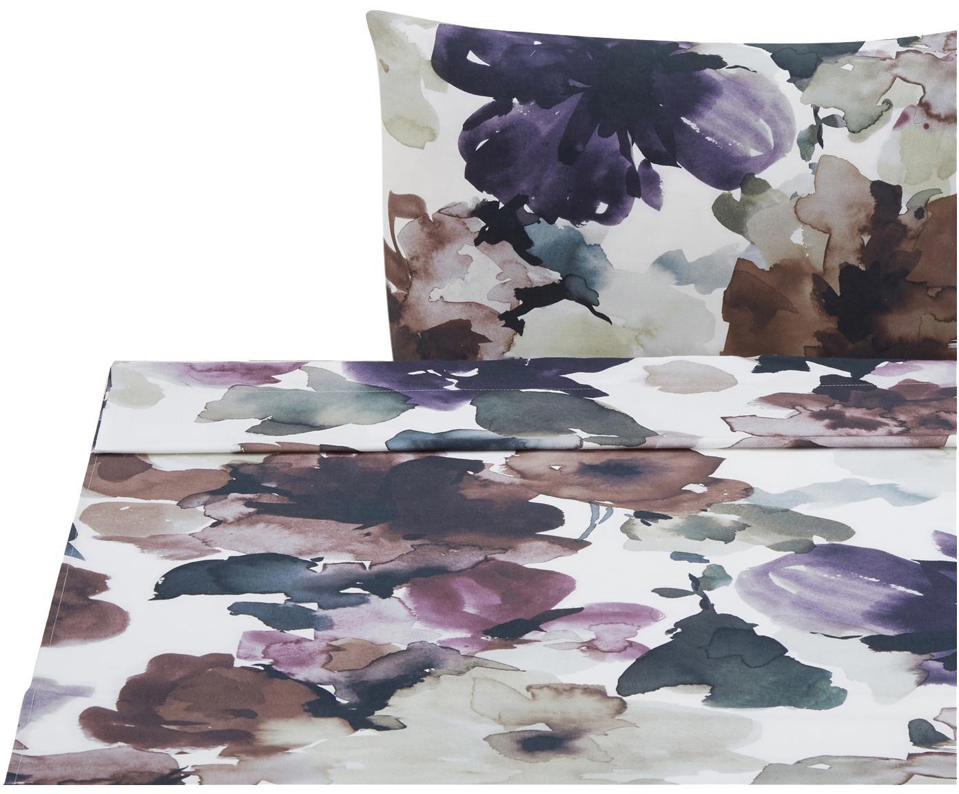 Sábana encimera Sunset Garden, Algodón, Blanco, multicolor, Cama 90 cm (160 x 270 cm)