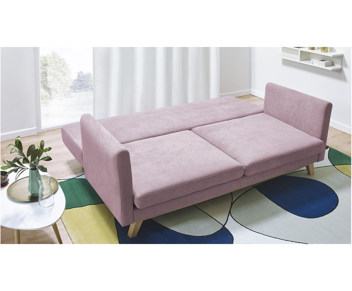 Sofa rozkładana z aksamitu Triplo (3-osobowa), Tapicerka: 100% aksamit poliestrowy, Nogi: metal lakierowany, Blady różowy, S 216 x G 105 cm
