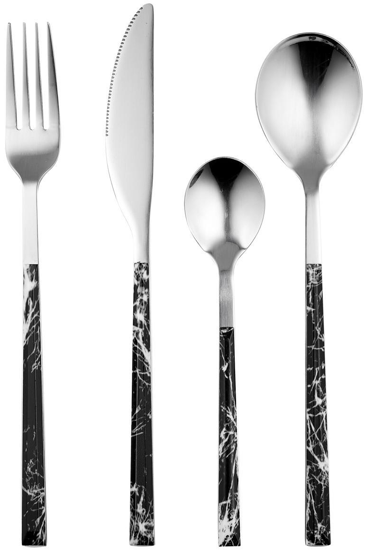 Bestekset Oslo met handvatten met marmerlook, 4 personen (16-delig), Edelstaal, kunststof (ABS), Zwart, gemarmerd, edelstaalkleurig, L 22 cm