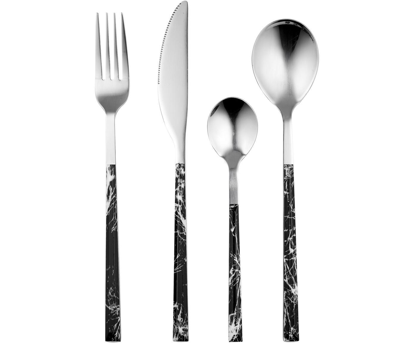 Komplet sztućców z imitacji marmuru Olso, 16 elem., Czarny, marmurowy, stal szlachetna, D 23 cm