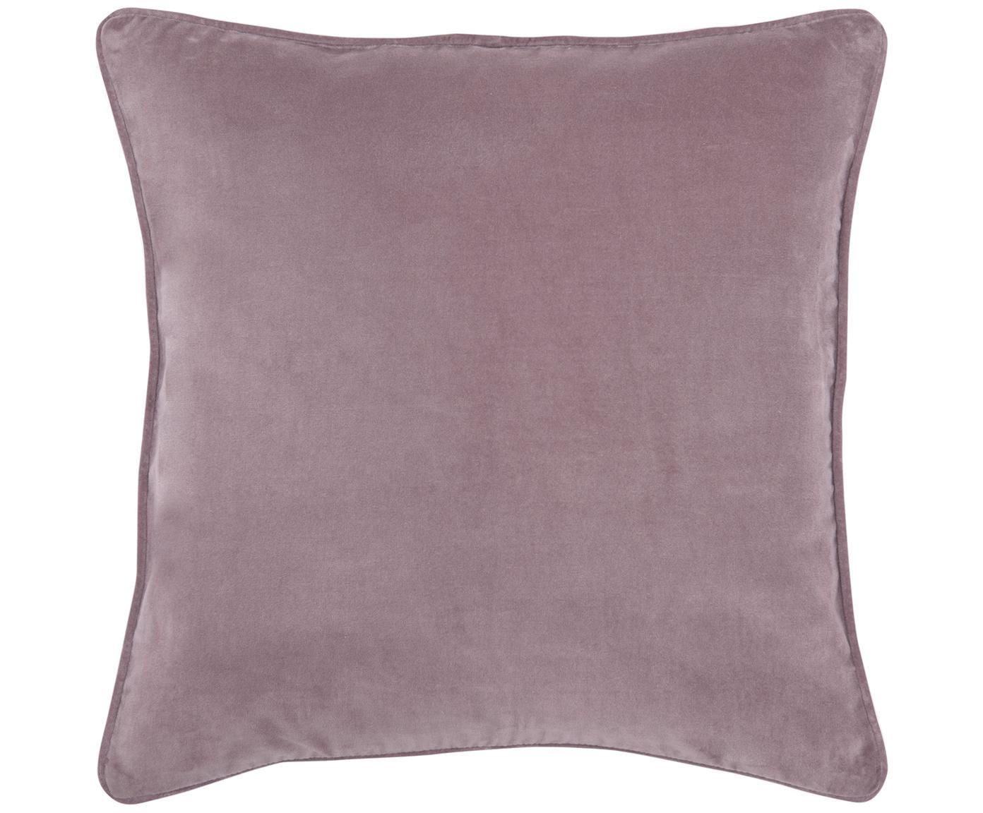 Einfarbige Samt-Kissenhülle Dana in Altrosa, 100% Baumwollsamt, Altrosa, 50 x 50 cm