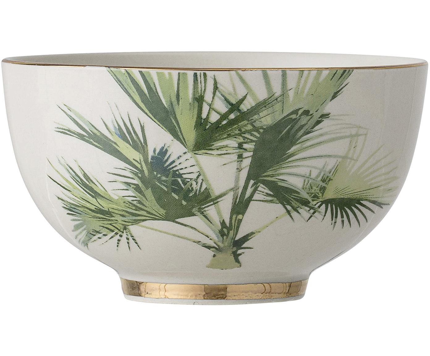 Schalen Aruba met goudkleurige details, 4 stuks, Keramiek, Crèmewit, groen, Ø 12 x H 7 cm