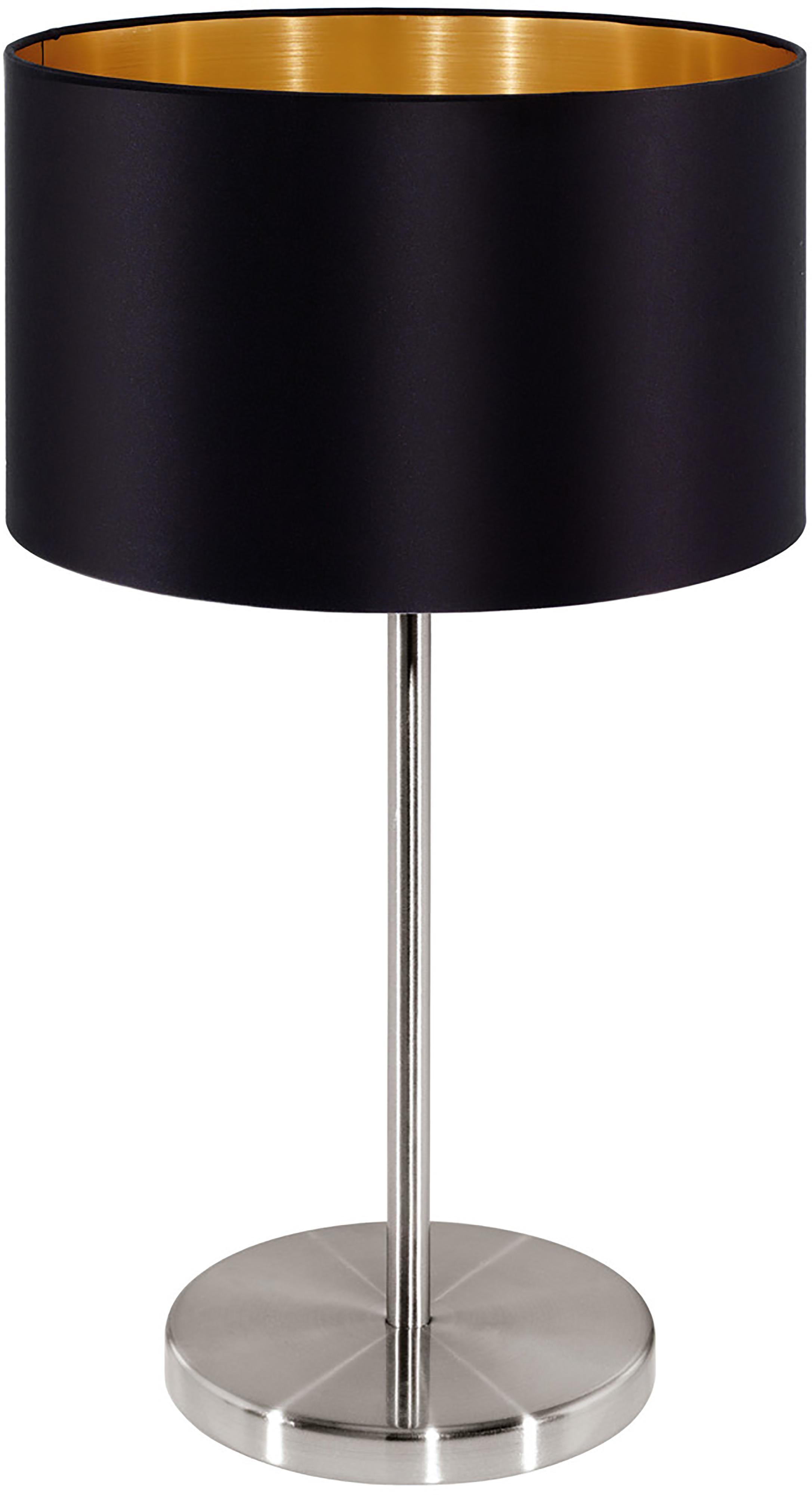 Tafellamp Jamie, Lampvoet: vernikkeld metaal, Fitting: vernikkeld metaal, Zwart, zilverkleurig, Ø 23 x H 42 cm