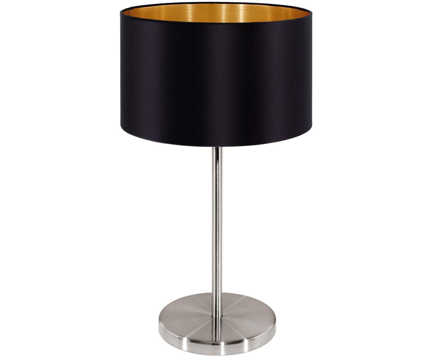 Tischleuchte Jamie, Schwarz,Silberfarben, ∅ 23 x H 42 cm