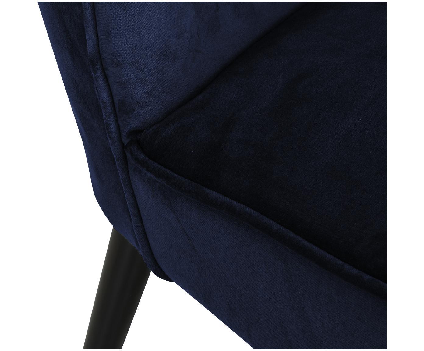 Fluwelen fauteuil Robine, Bekleding: fluweel (polyester), Poten: berkenhout, Bekleding: marineblauw, Poten: zwart, 63 x 75 cm