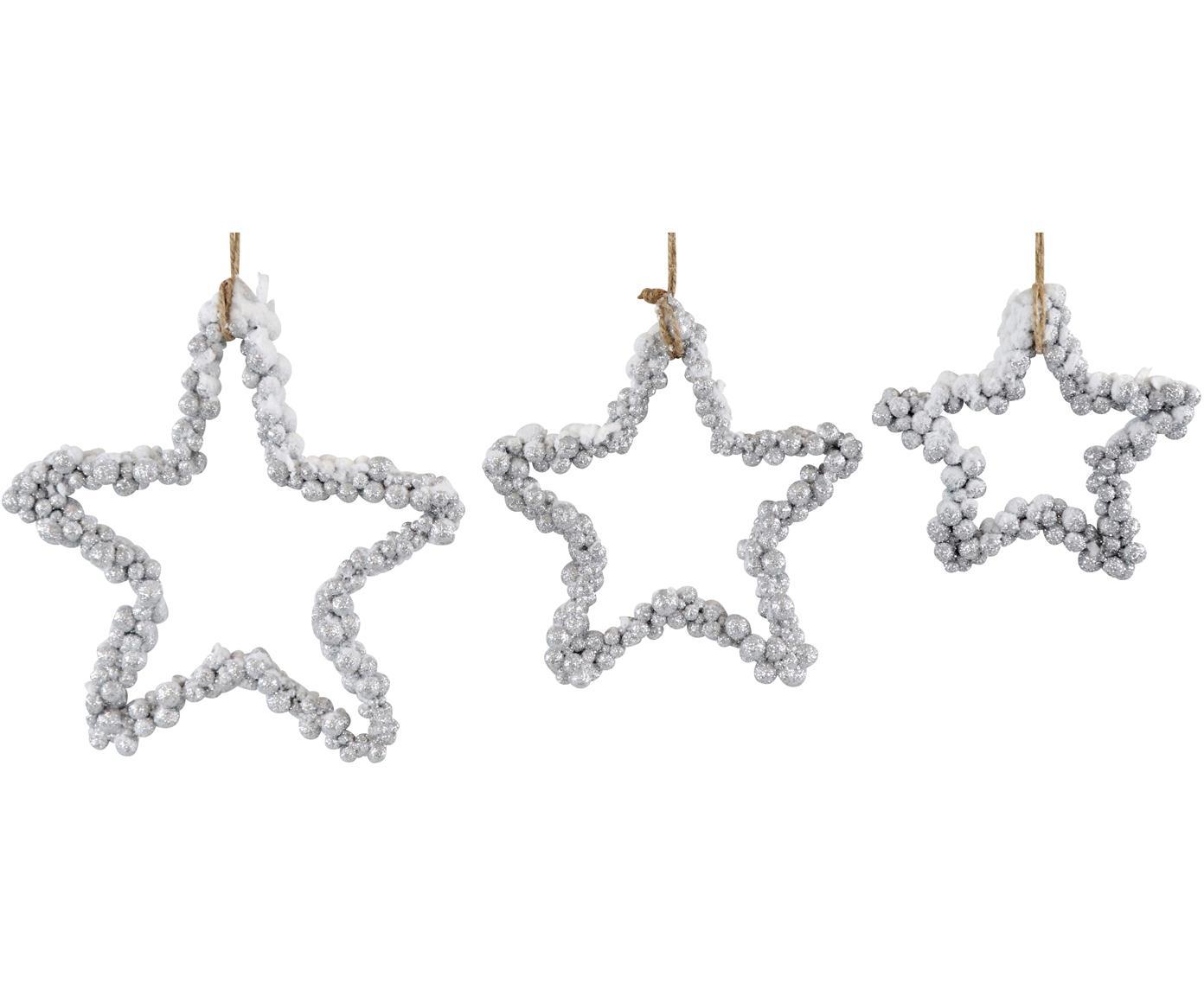 Decoratieve hangersset Snowy, 3-delig, Polystyreen, kunststof, metaal, hout, Zilverkleurig, Verschillende formaten