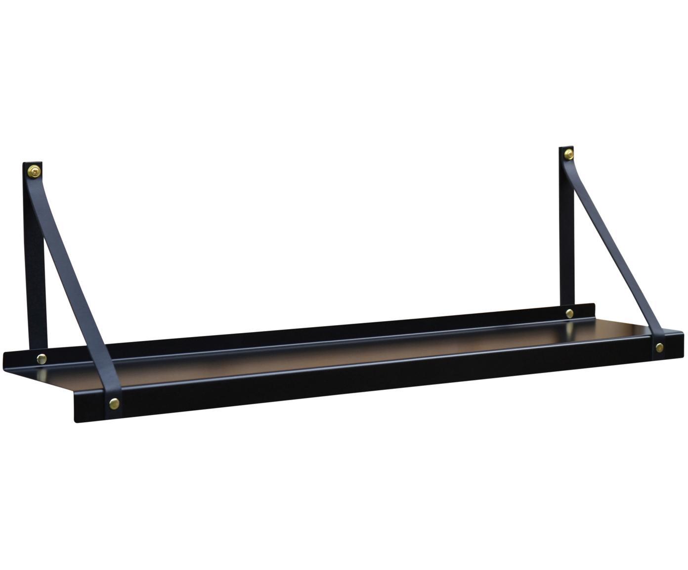 Wandplank Shelfie, Plank: gepoedercoat metaal, Riemen: leer, Zwart, B 75 x D 15 cm