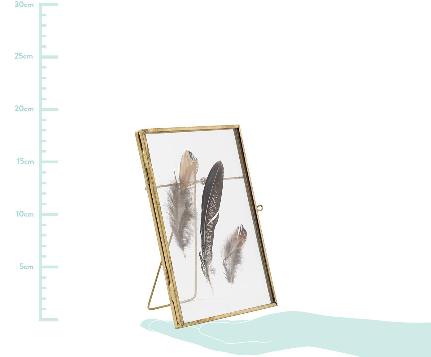 Ramka na zdjęcia Pioro, Odcienie mosiądzu, transparentny, S 13 x D 18 cm