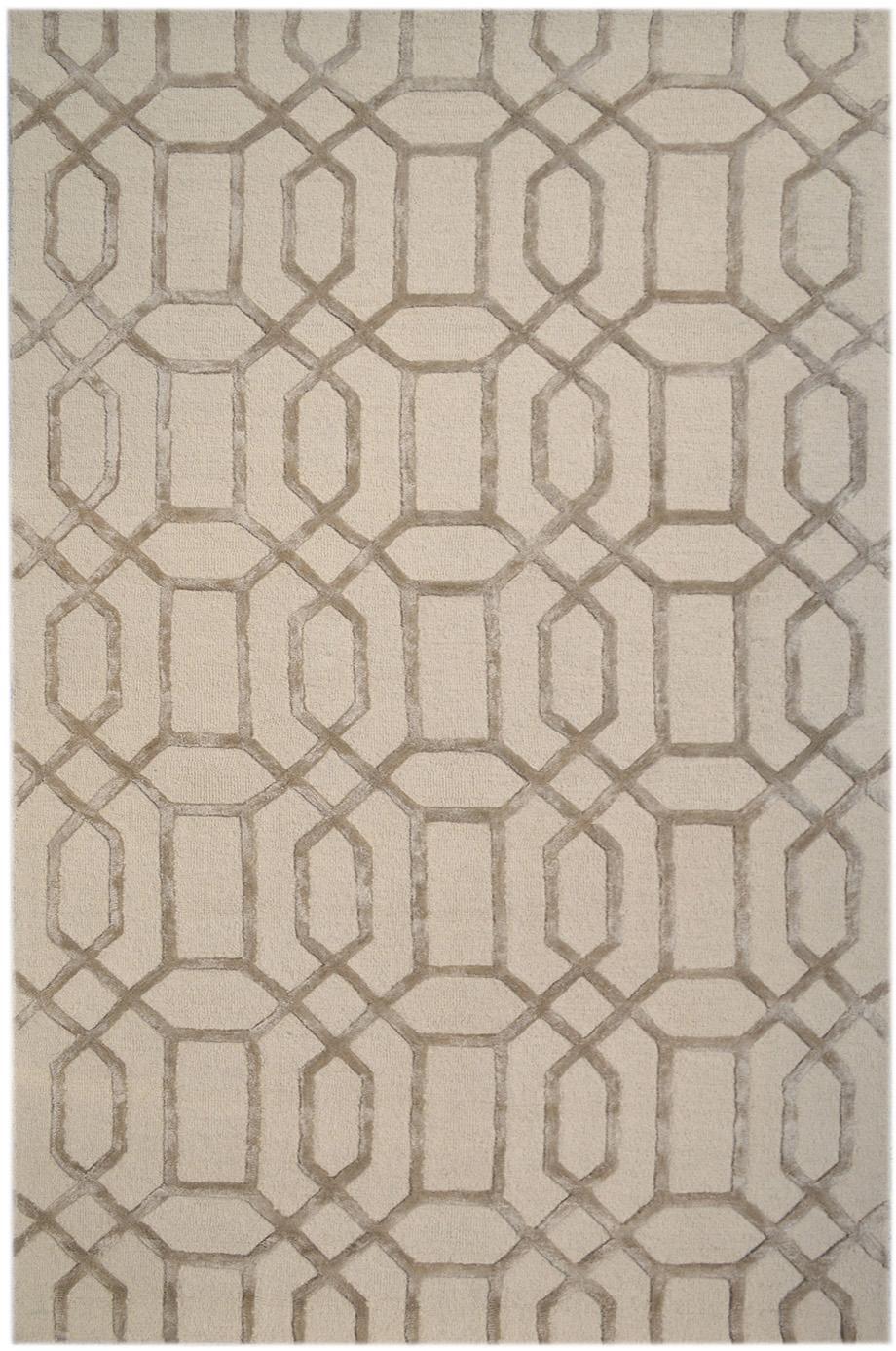 Handgetufteter Wollteppich Vegas mit Hoch-Tief-Effekt, Flor: 80% Wolle, 20% Viskose, Beige, Creme, B 200 x L 300 cm (Größe L)