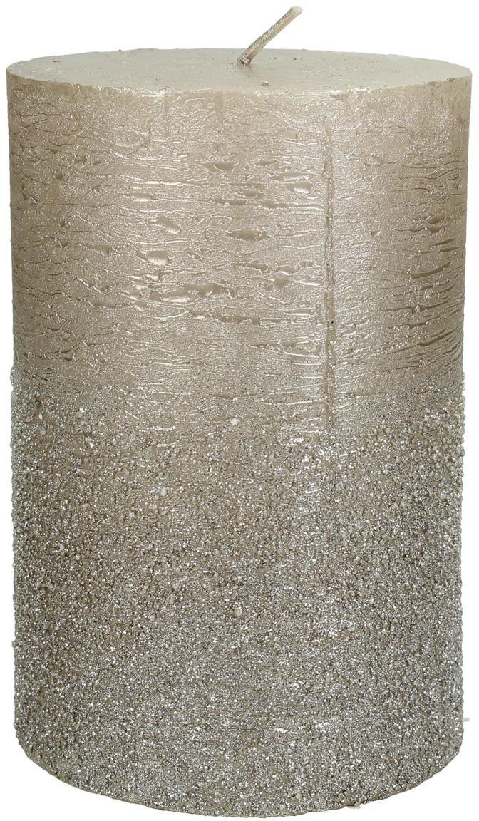 Candela pilastro Glitters, Cera, Dorato, Ø 10 x Alt. 15 cm