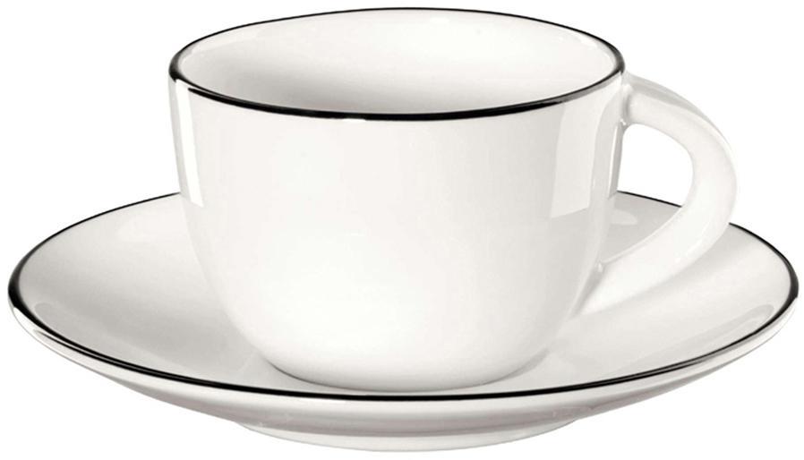 Espressotassen mit Untertassen á table ligne noir mit schwarzem Rand, 4 Stück, Fine Bone China (Porzellan) Fine Bone China ist ein Weichporzellan, das sich besonders durch seinen strahlenden, durchscheinenden Glanz auszeichnet., Weiss<br>Rand: Schwarz, Ø 6 x H 5 cm