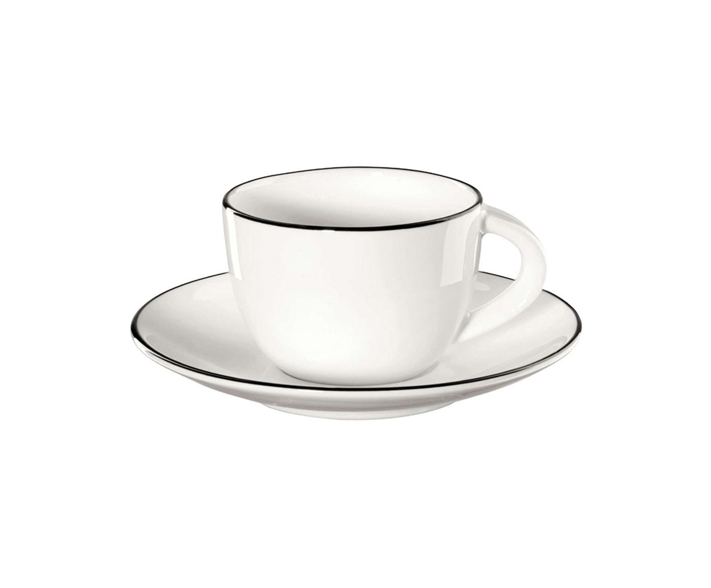 Espressotassen mit Untertassen á table ligne noir mit schwarzem Rand, 4 Stück, Fine Bone China, Weiß<br>Rand: Schwarz, Ø 6 x H 5 cm