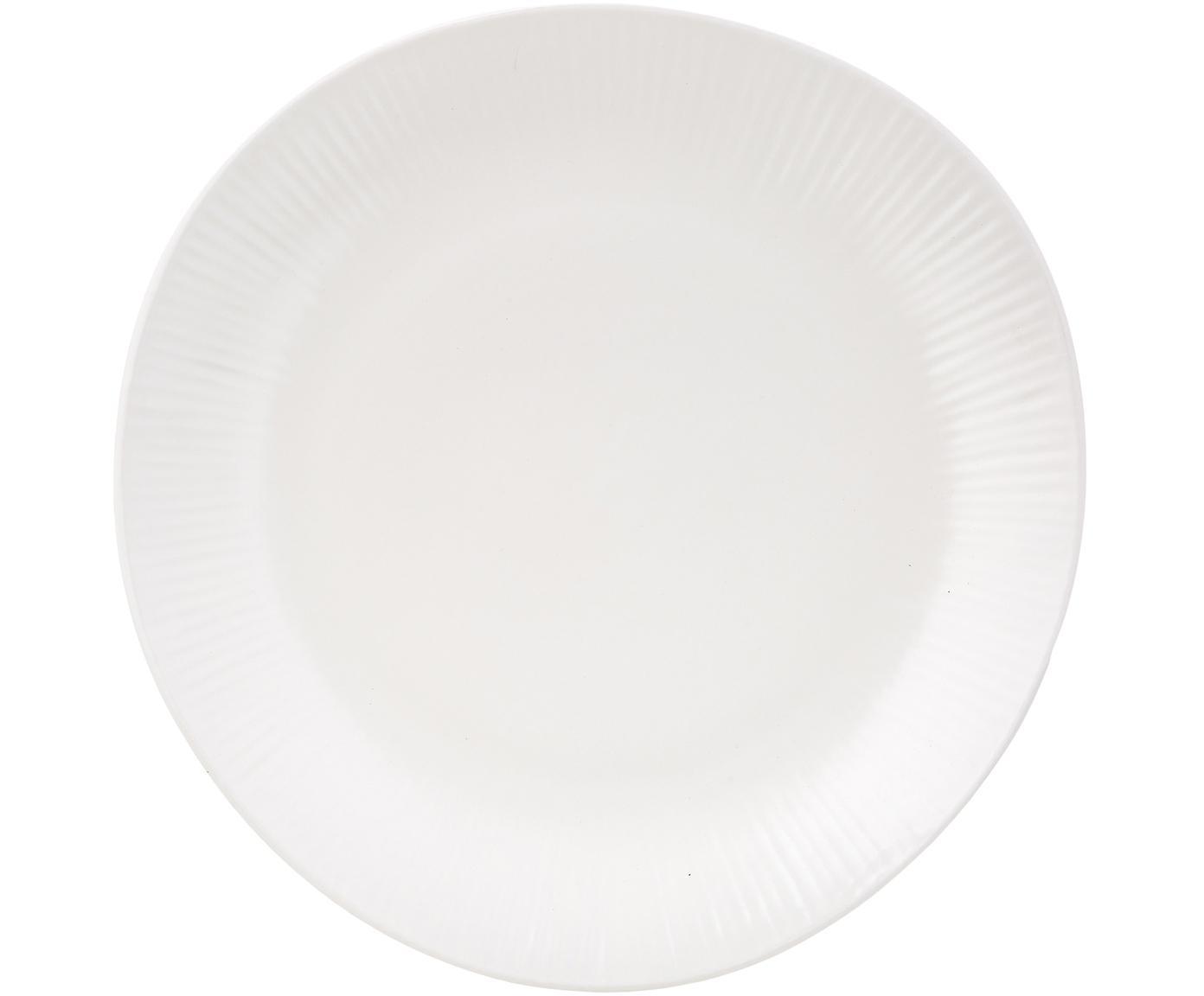 Handgefertigte Speiseteller Sandvig mit leichtem Rillenrelief, 4 Stück, Porzellan, durchgefärbt, Gebrochenes Weiß, Ø 27 cm