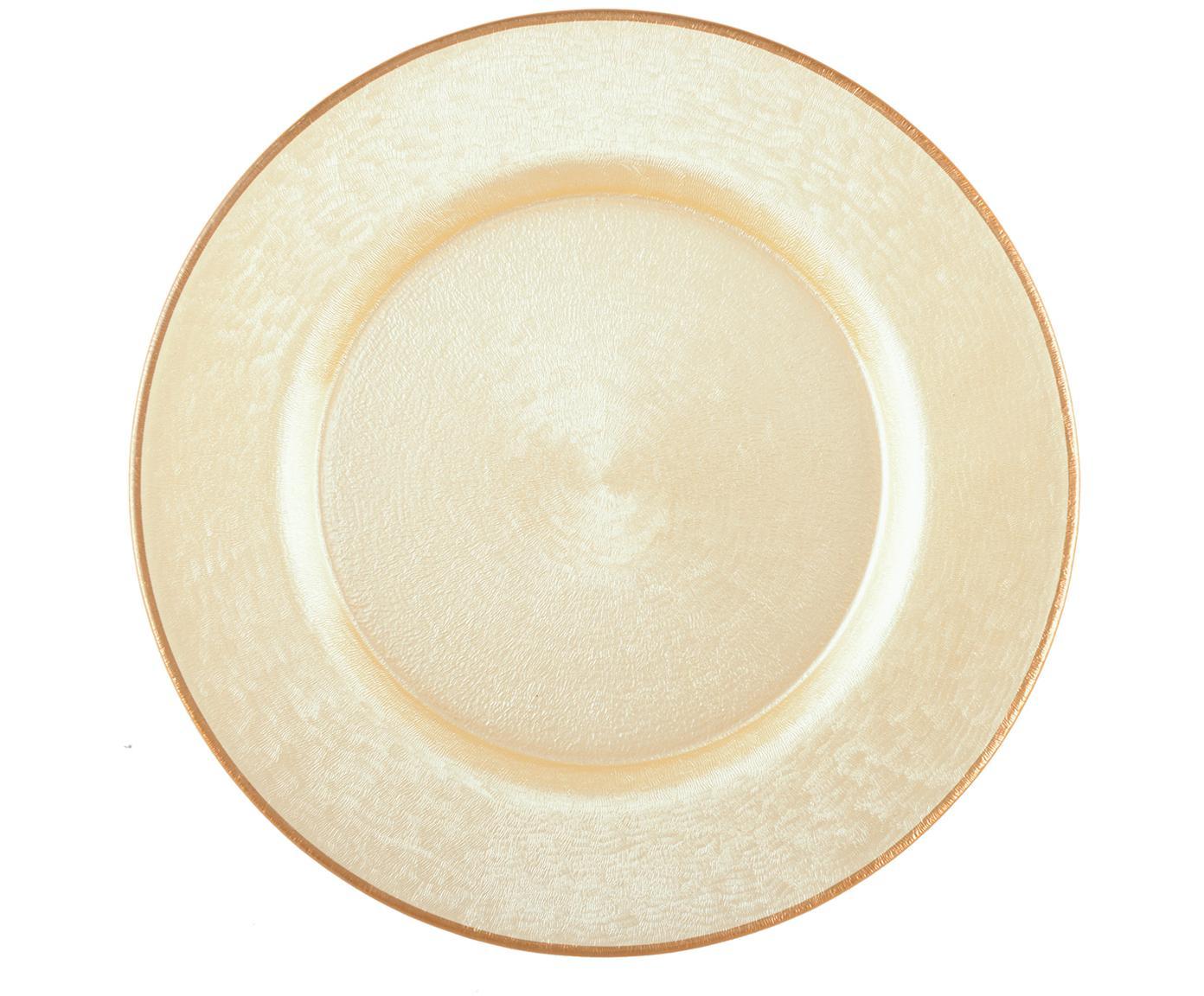 Podstawka pod talerz ze szkła Vanilla, Szklanka, Jasny beżowy, jasny brązowy, Ø 33 cm