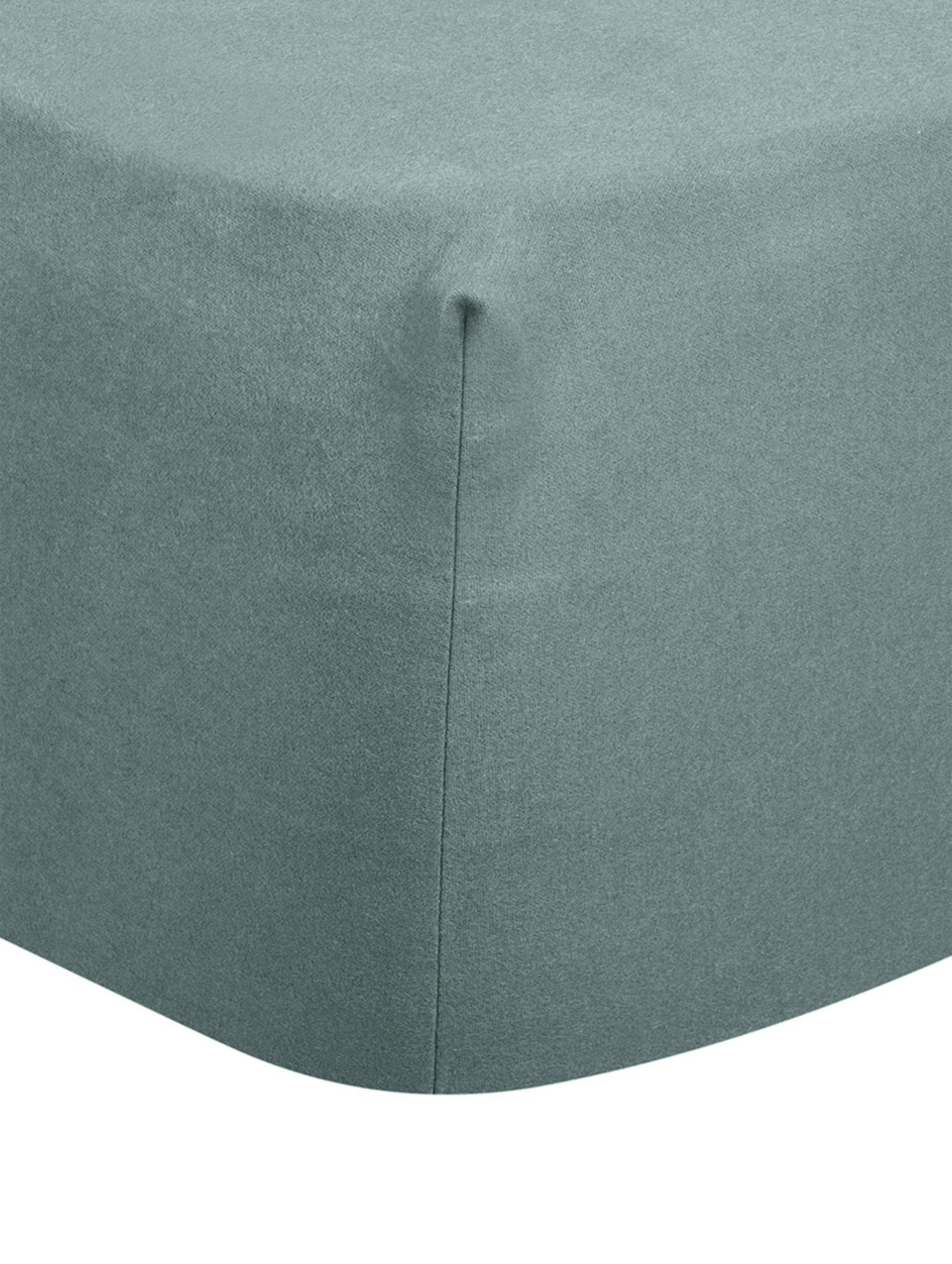 Hoeslaken Biba, flanel, Weeftechniek: flanel, Donkergroen, 90 x 200 cm