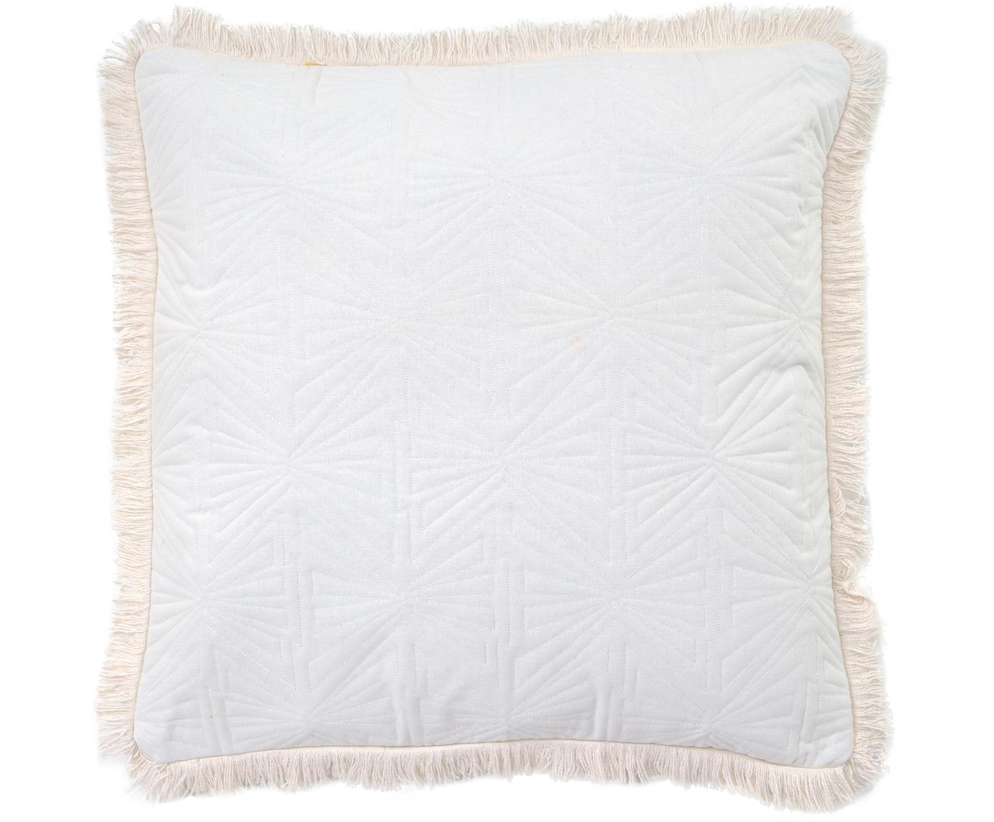 Fein gemustertes Kissen Bauhaus mit Fransenabschluss, mit Inlett, 100% Baumwolle, Weiß, 55 x 55 cm