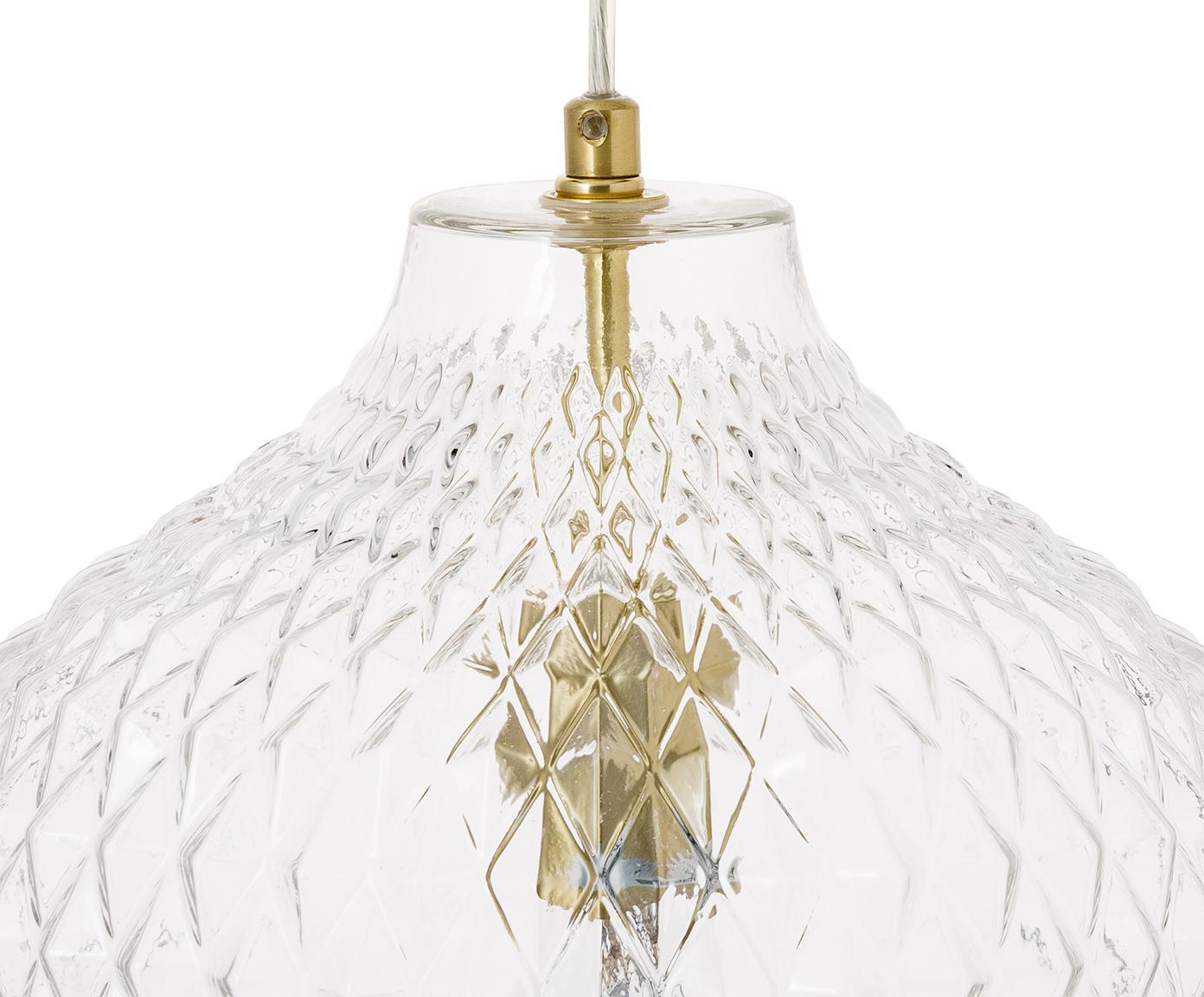Hanglamp Lee van glas, Lampenkap: glas, Baldakijn en fitting: messingkleurig. Lampenkap: transparant, Ø 27 x H 33 cm