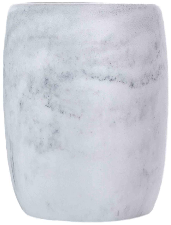 Zahnputzbecher Marblis, Polyresin, Weiß, Ø 7 x H 10 cm