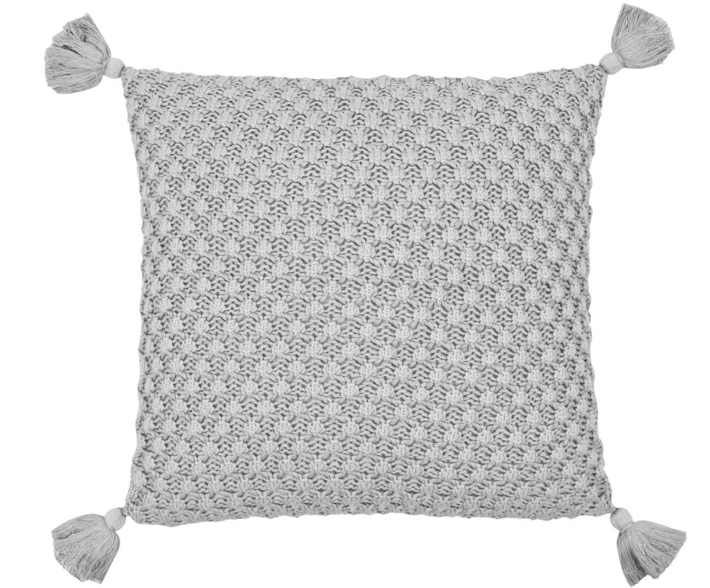 Poszewka na poduszkę z dzianiny Astrid, 100% bawełna, Szary, S 50 x D 50 cm