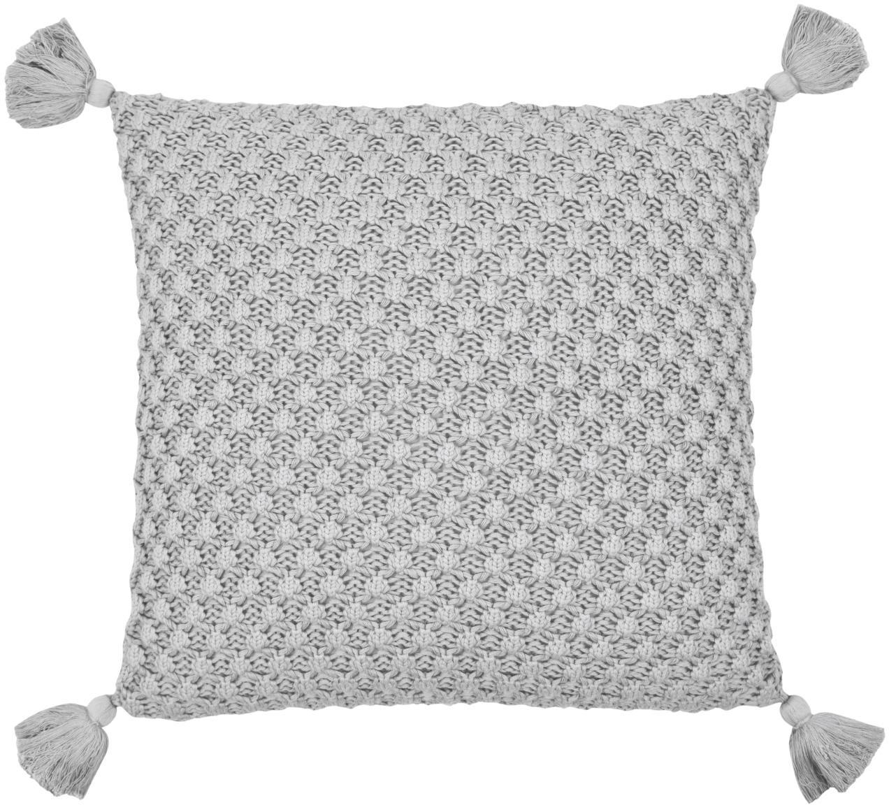 Gebreide kussenhoes Astrid, 100% katoen, Grijs, 50 x 50 cm