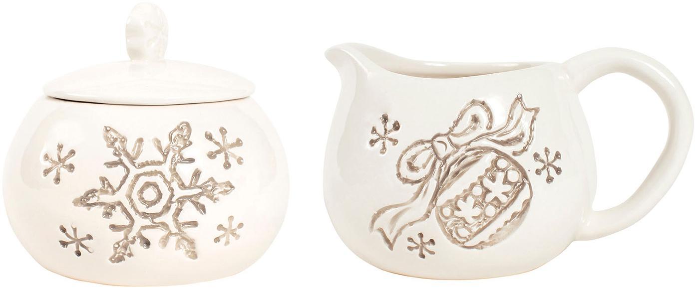 Milch- und Zucker-Set Safe Noeline, 2-tlg., Steingut, Grau, Beige, Sondergrößen