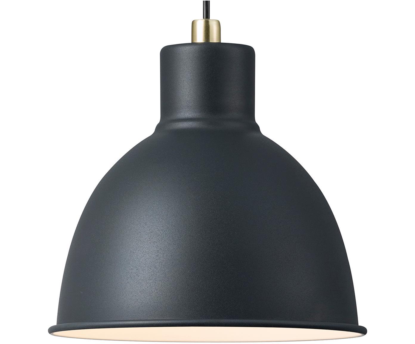 Kleine Skandi-Pendelleuchte Pop, Lampenschirm: Metall, beschichtet, Baldachin: Kunststoff, Anthrazit, Ø 21 x H 24 cm