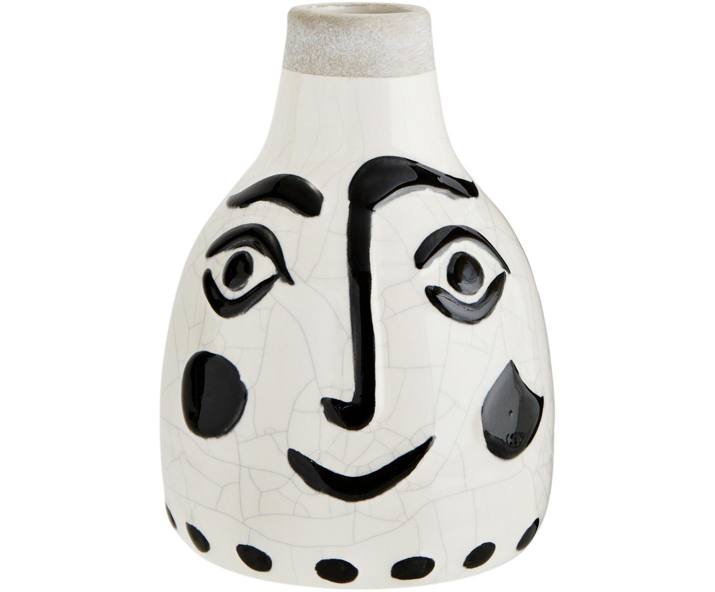 Wazon z krakelurą Face, Kamionka, Biały, czarny, Ø 14 x W 21 cm
