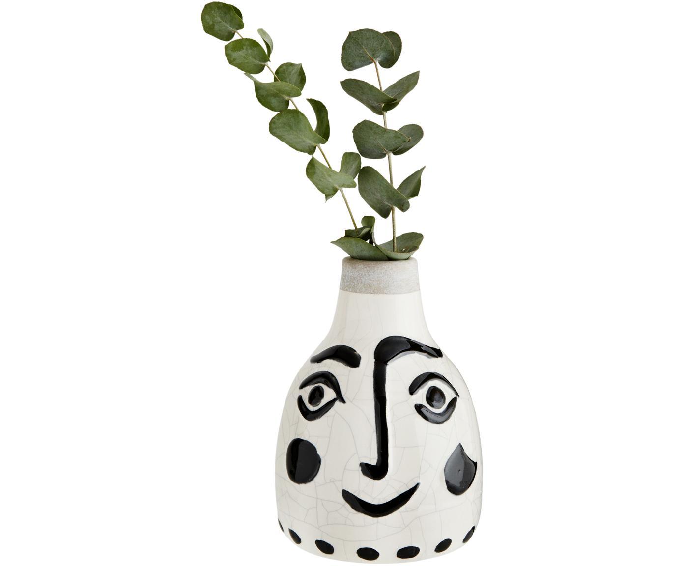 Vase Face mit Craquelé Glasur, Steingut, Weiß, Schwarz, Ø 14 x H 21 cm