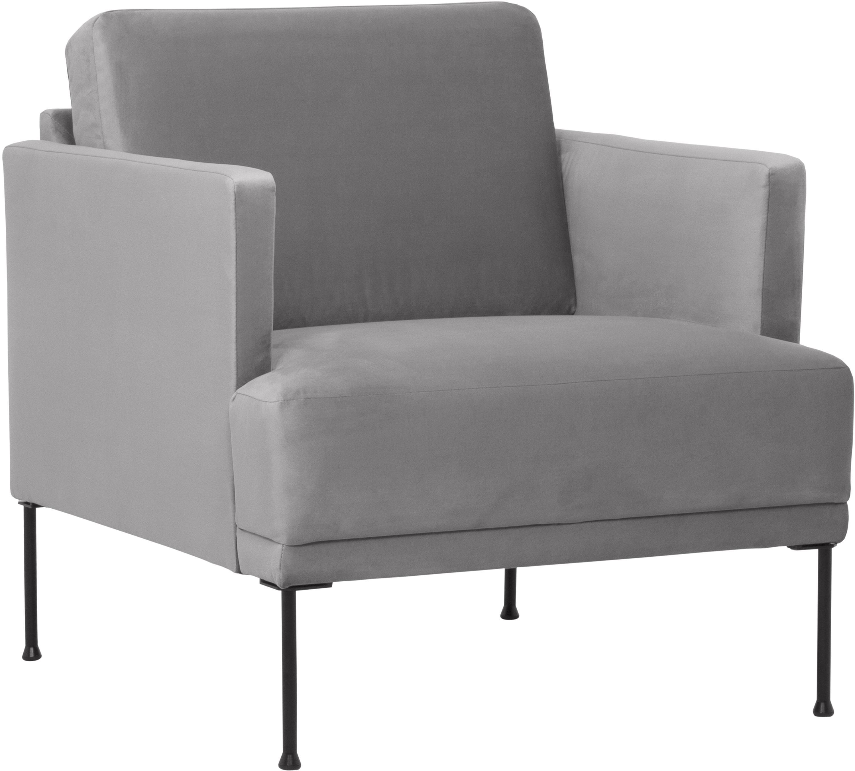 Fotel z aksamitu Fluente, Tapicerka: aksamit (wysokiej jakości, Stelaż: lite drewno sosnowe, Nogi: metal malowany proszkowo, Aksamitny jasny szary, S 74 x G 85 cm