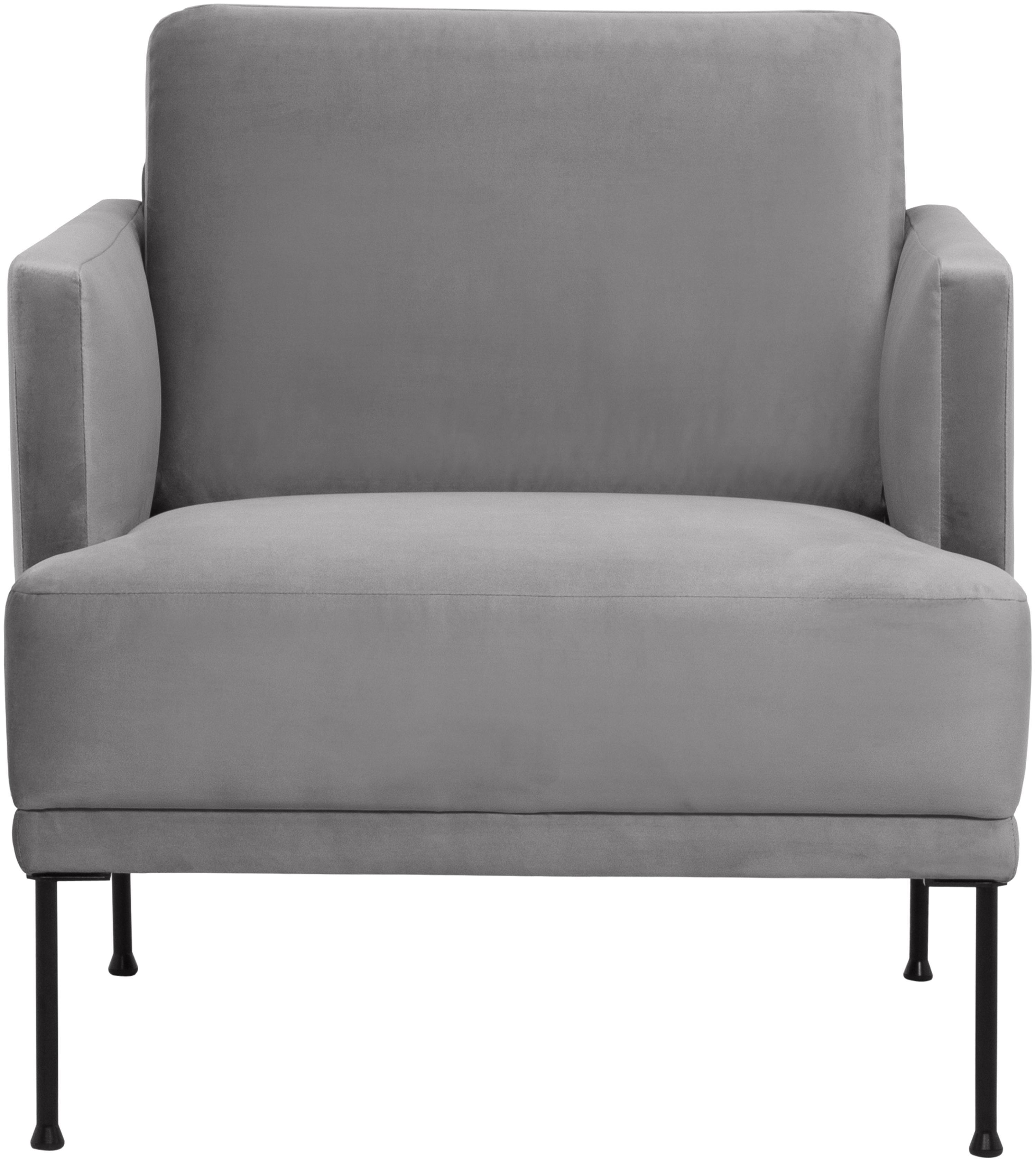 Fluwelen fauteuil Fluente, Bekleding: fluweel (hoogwaardig poly, Frame: massief grenenhout, Poten: gepoedercoat metaal, Lichtgrijs, B 74 x D 85 cm