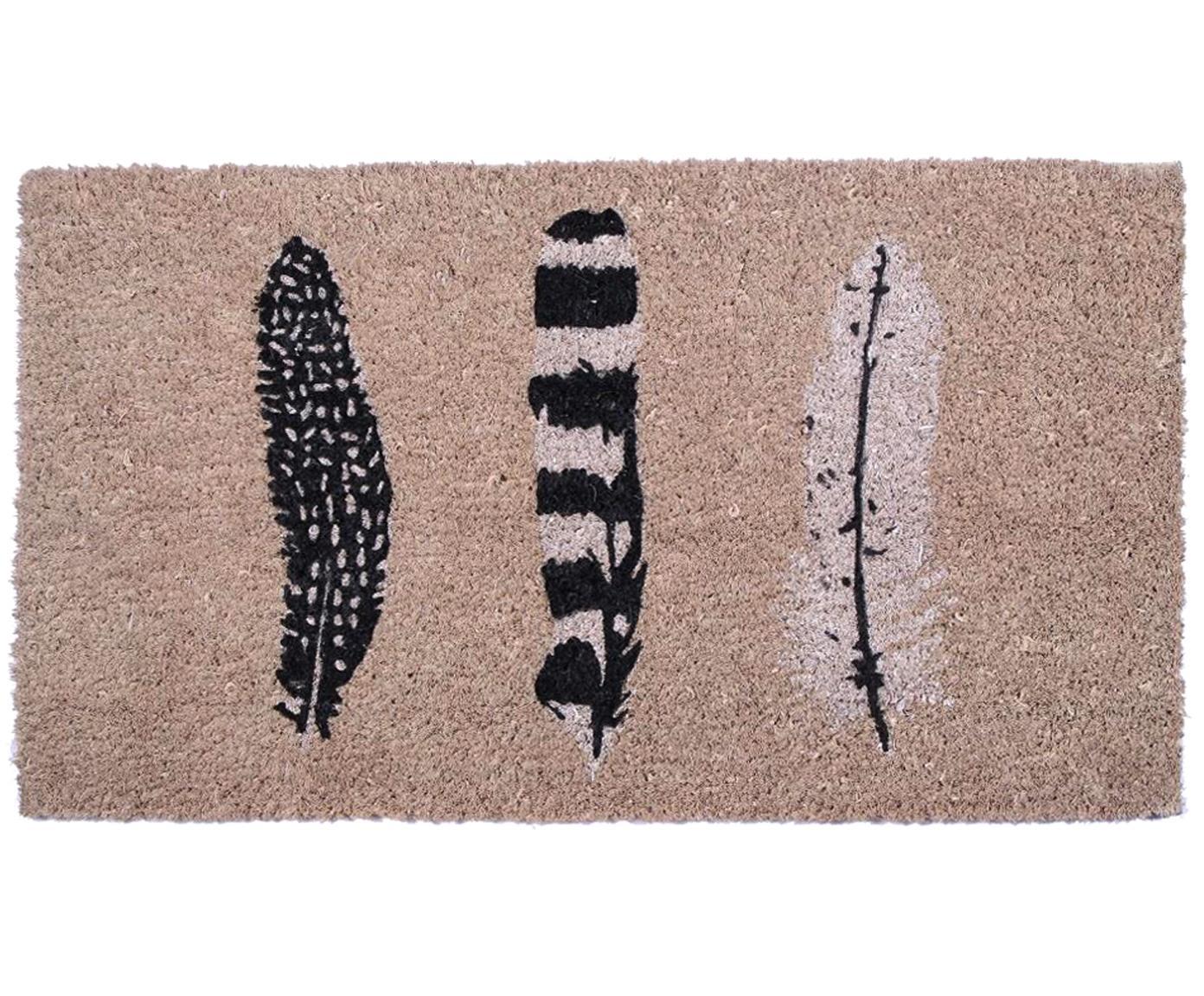 Deurmat Feathers, Bovenzijde: kokosvezels, Onderzijde: PVC, Beige, zwart, wit, 40 x 70 cm