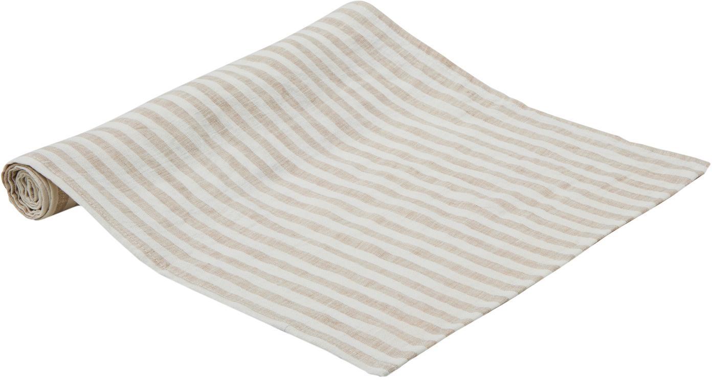 Bieżnik z lnu Solami, Len, Beżowy, biały, S 40 x D 150 cm