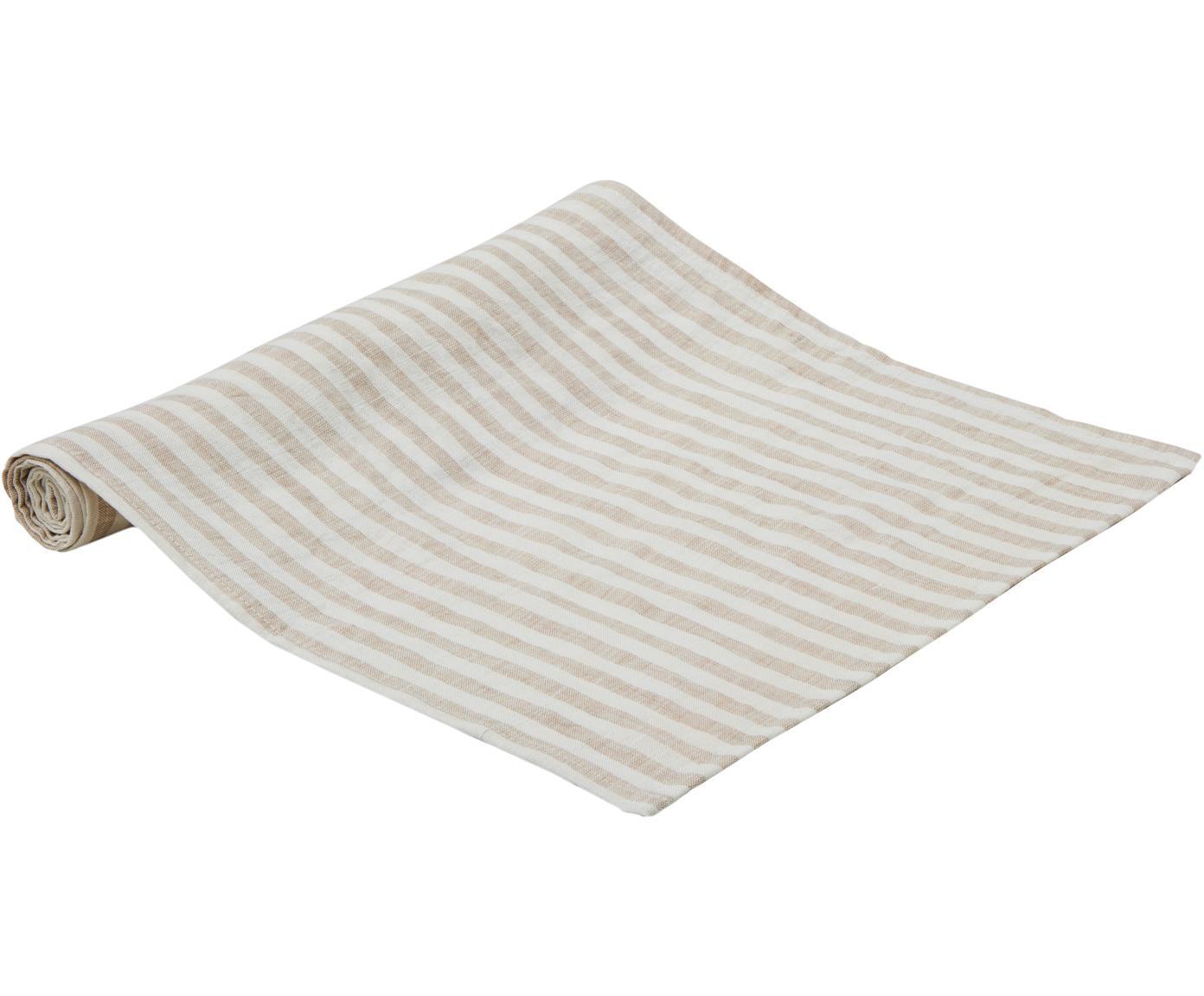 Camino de mesa de lino Solami, Lino, Beige, blanco, An 40 x L 150 cm